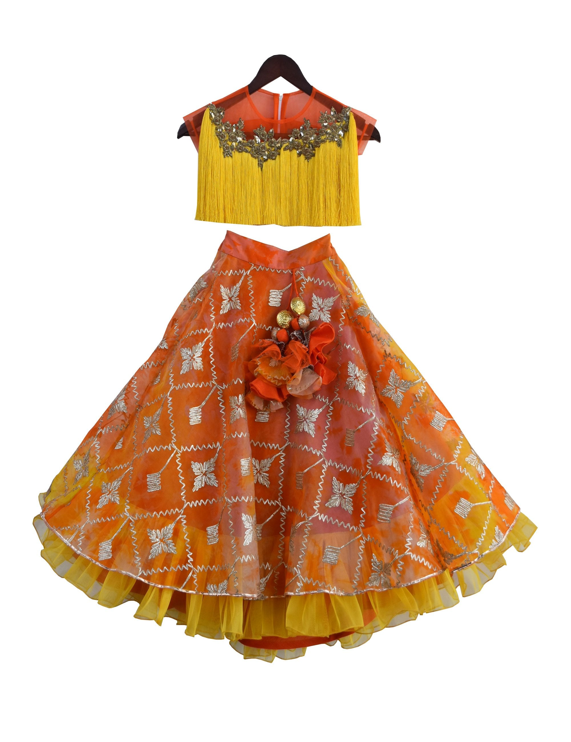 Tassel choli with Lehenga in Orange Colour for Girls
