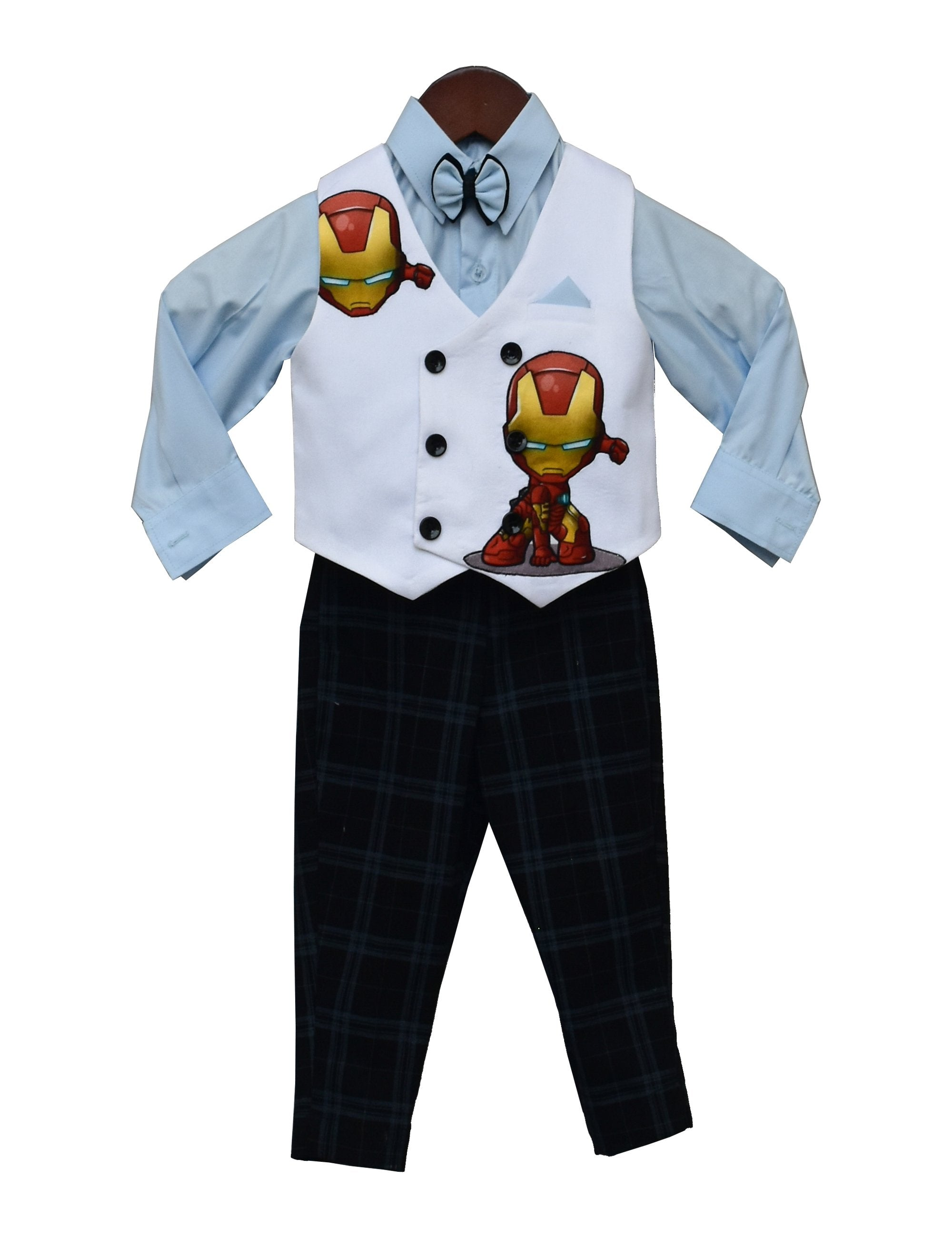 Powder Blue Shirt with Black Check Pant & White Iron Man Print Waist Coat