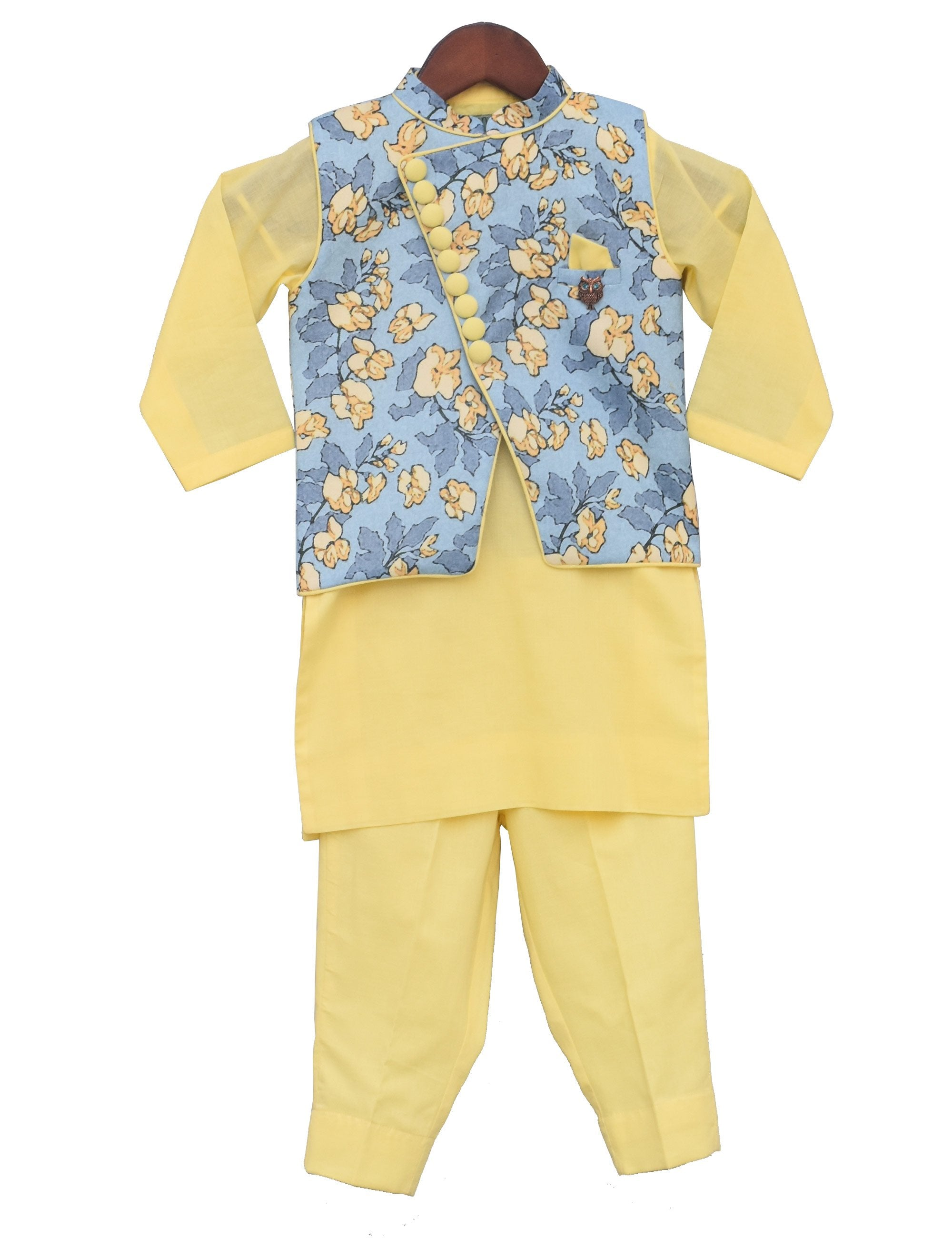 Printed Nehru Jacket with Kurta and Pant