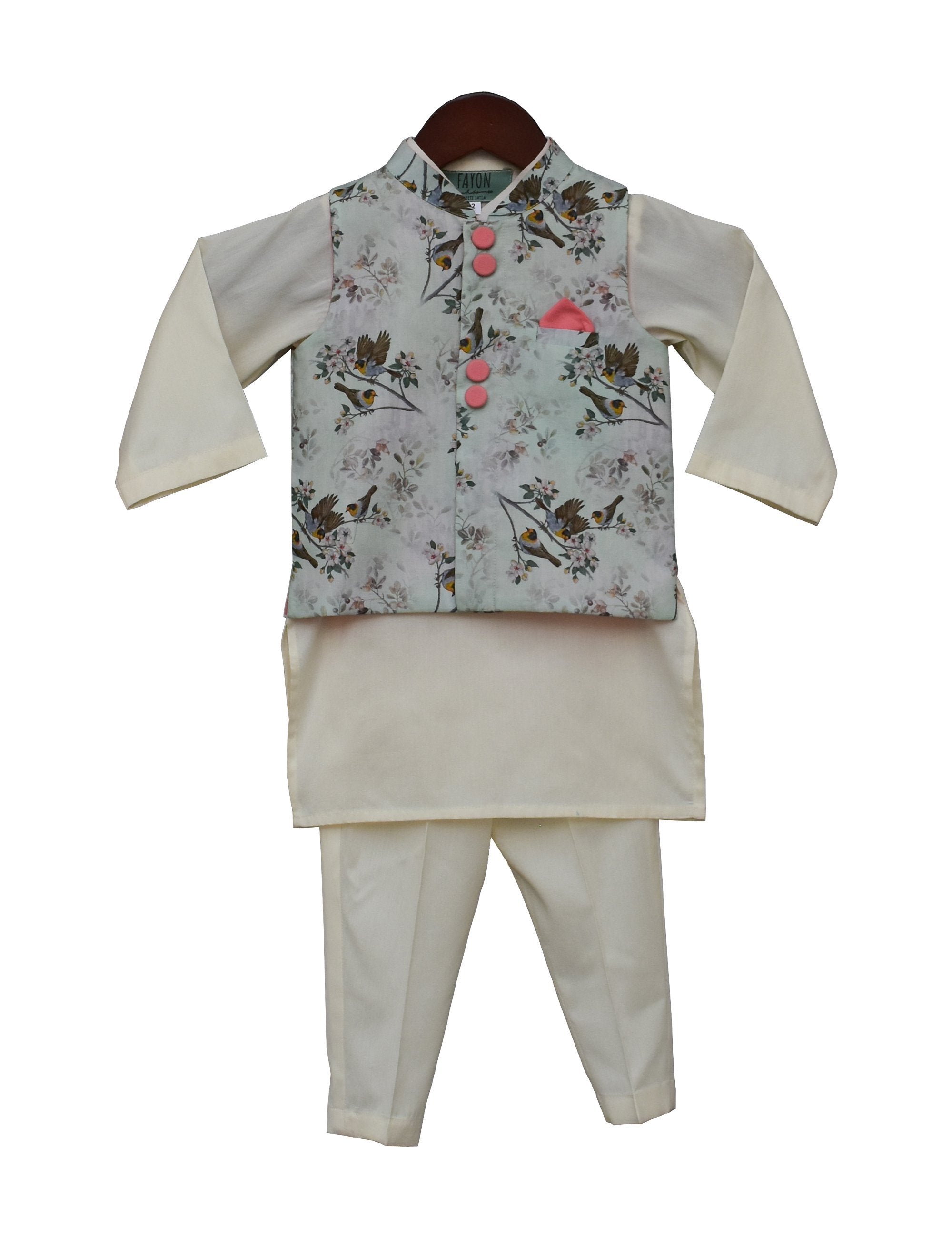 Printed Nehru Jacket with Offwhite Kurta & Pant.