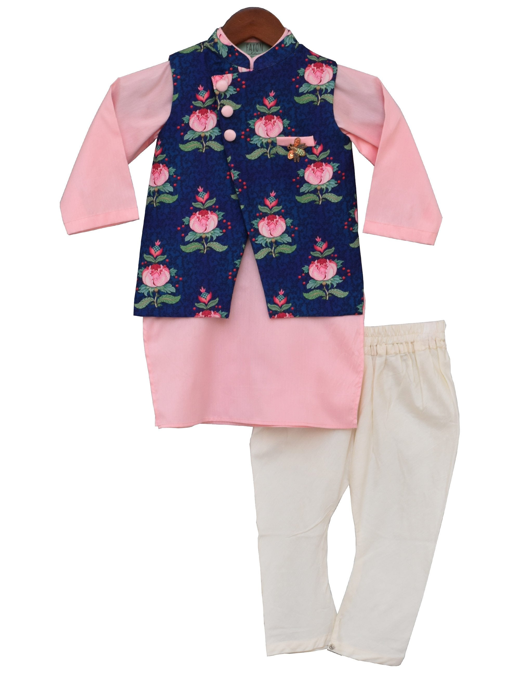 Printed Nehru Jacket with Pink Kurta and Churidar