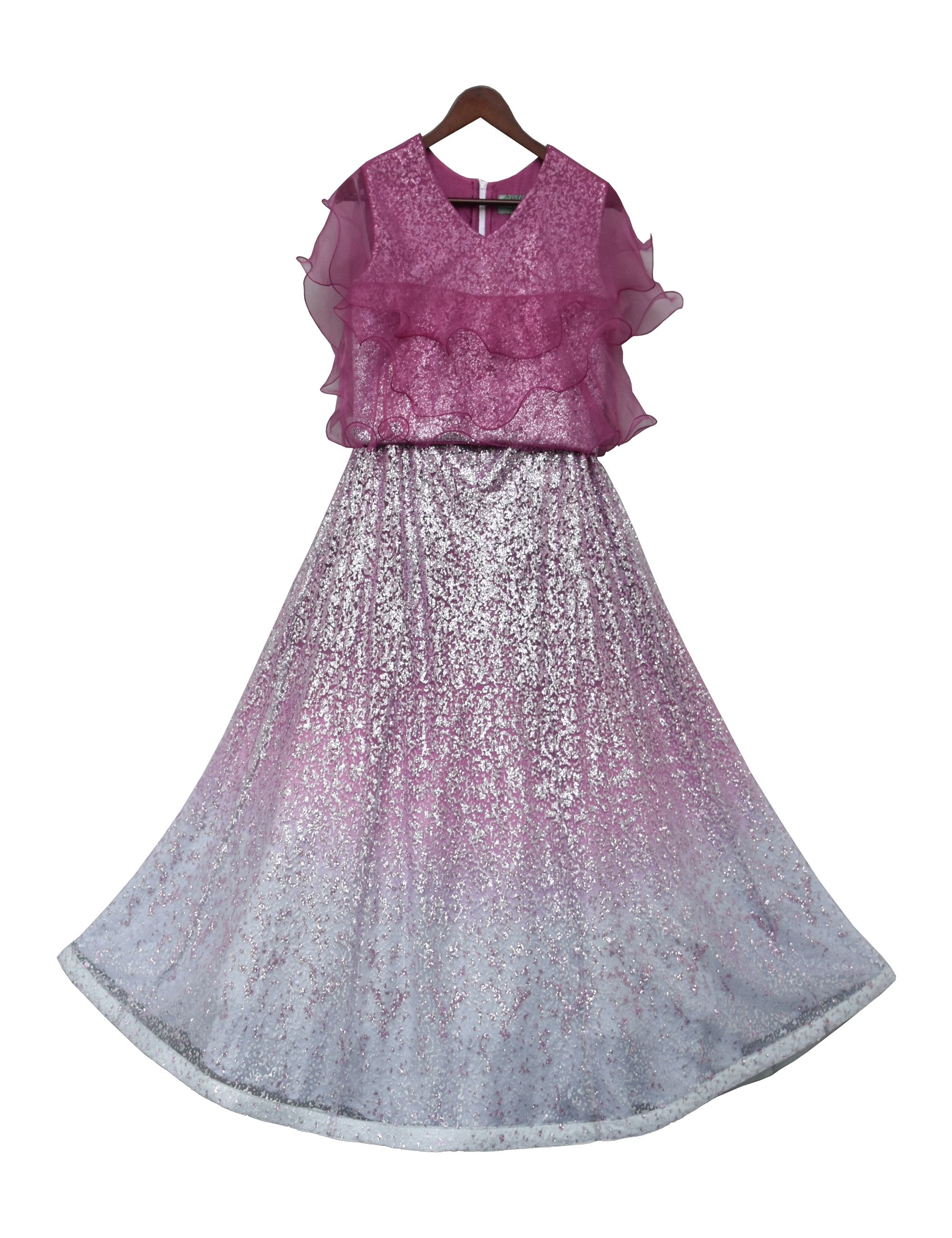 Purple Glitter Top with Organza Frill & Lehenga