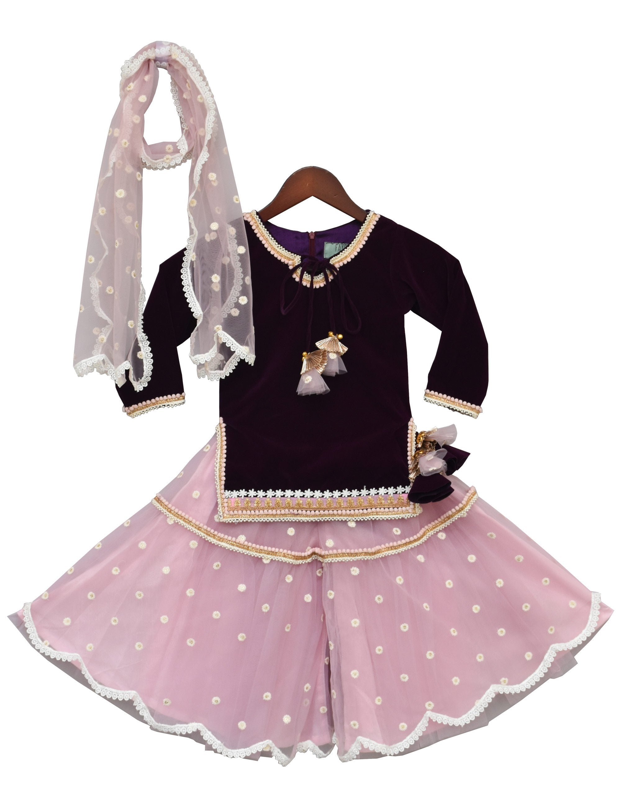 Purple Velvet Kurti with Sharara for Girls