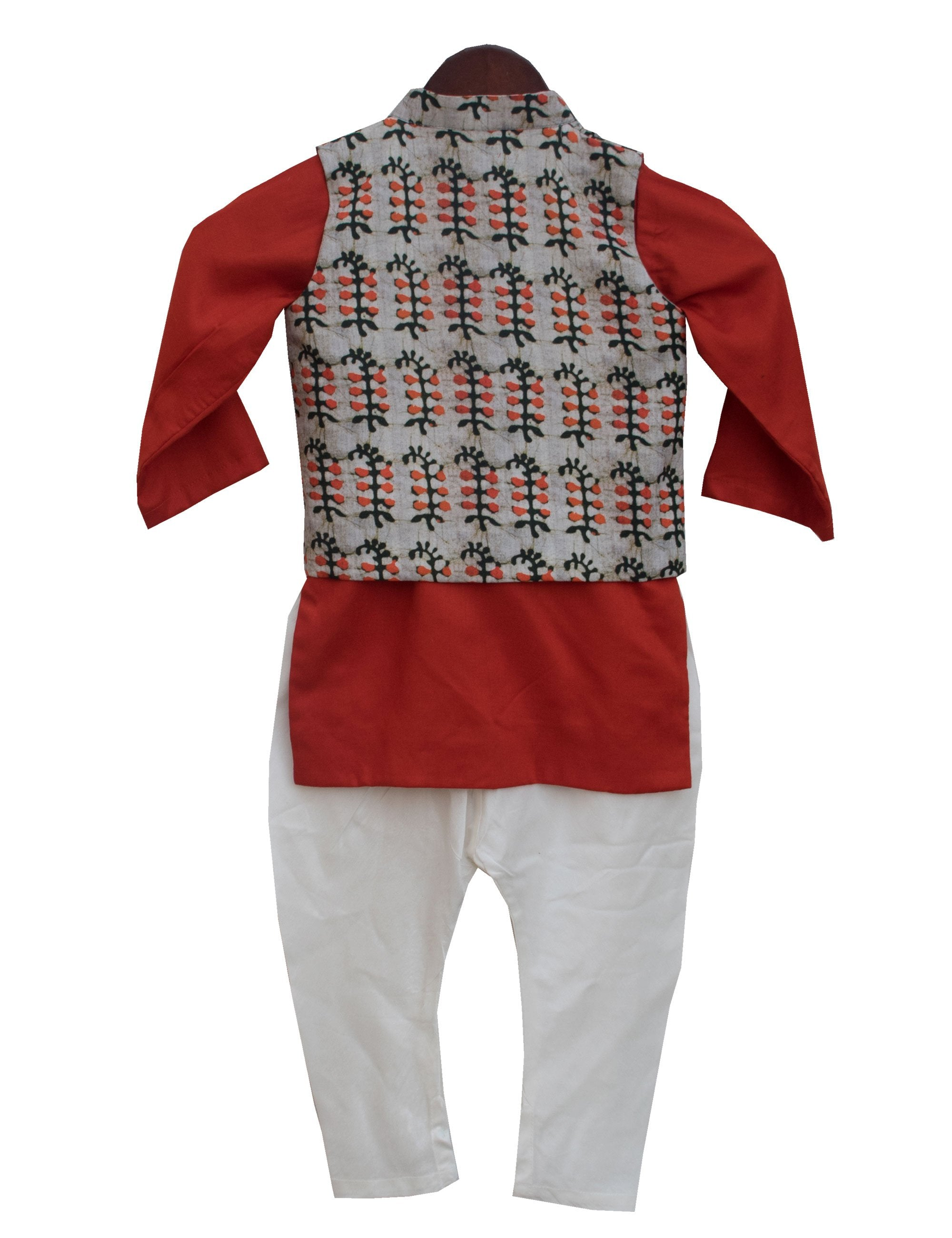 Kurta with Printed Nehru Jacket and Churidar in Red Colour for Boys