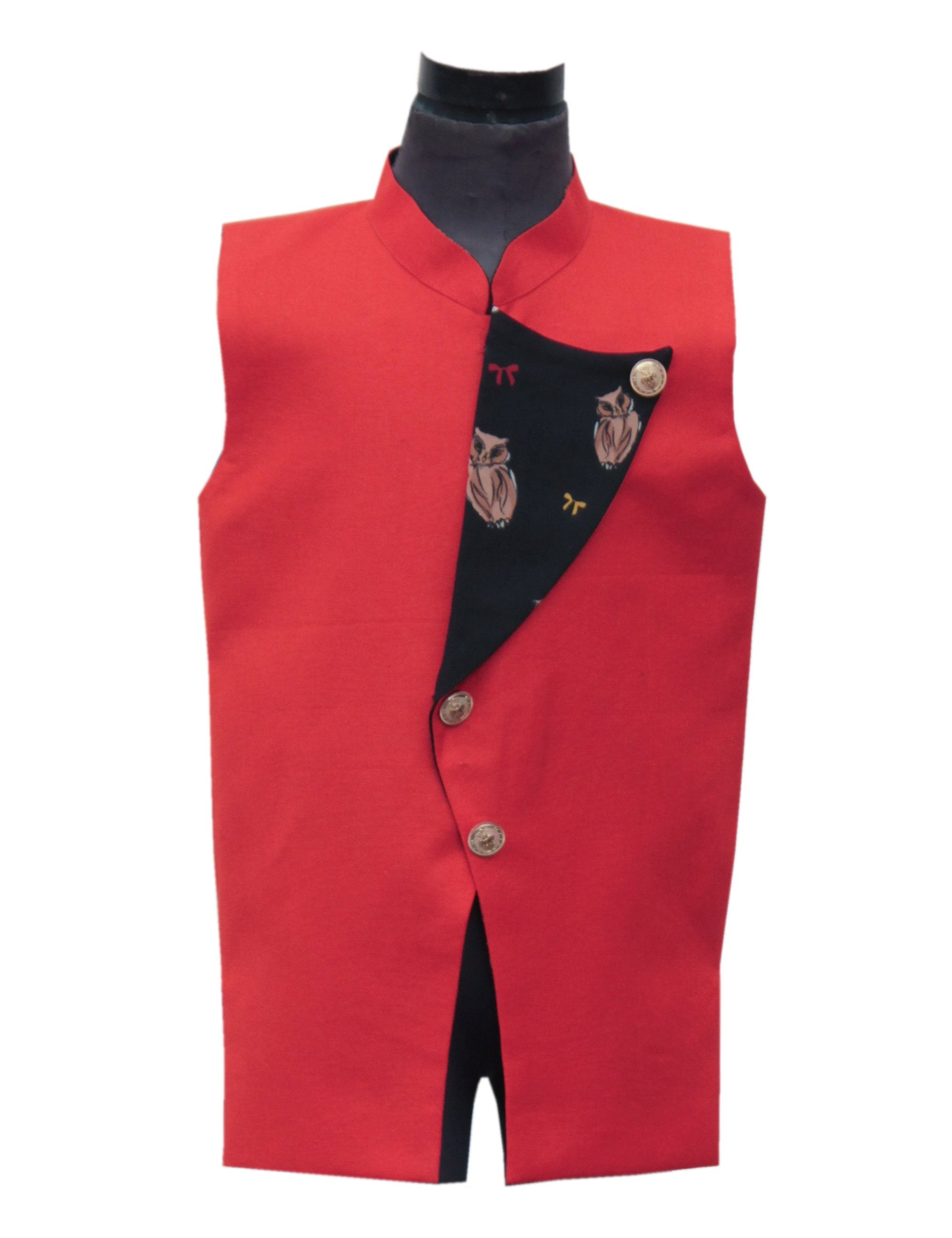 Nehru Jacket with Printed Flip Over in Red Colour for Boys