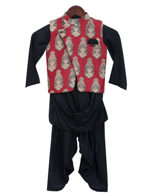 Printed Nehru Jacket with Kurta and Salwar in Black & Red Colour for Boys