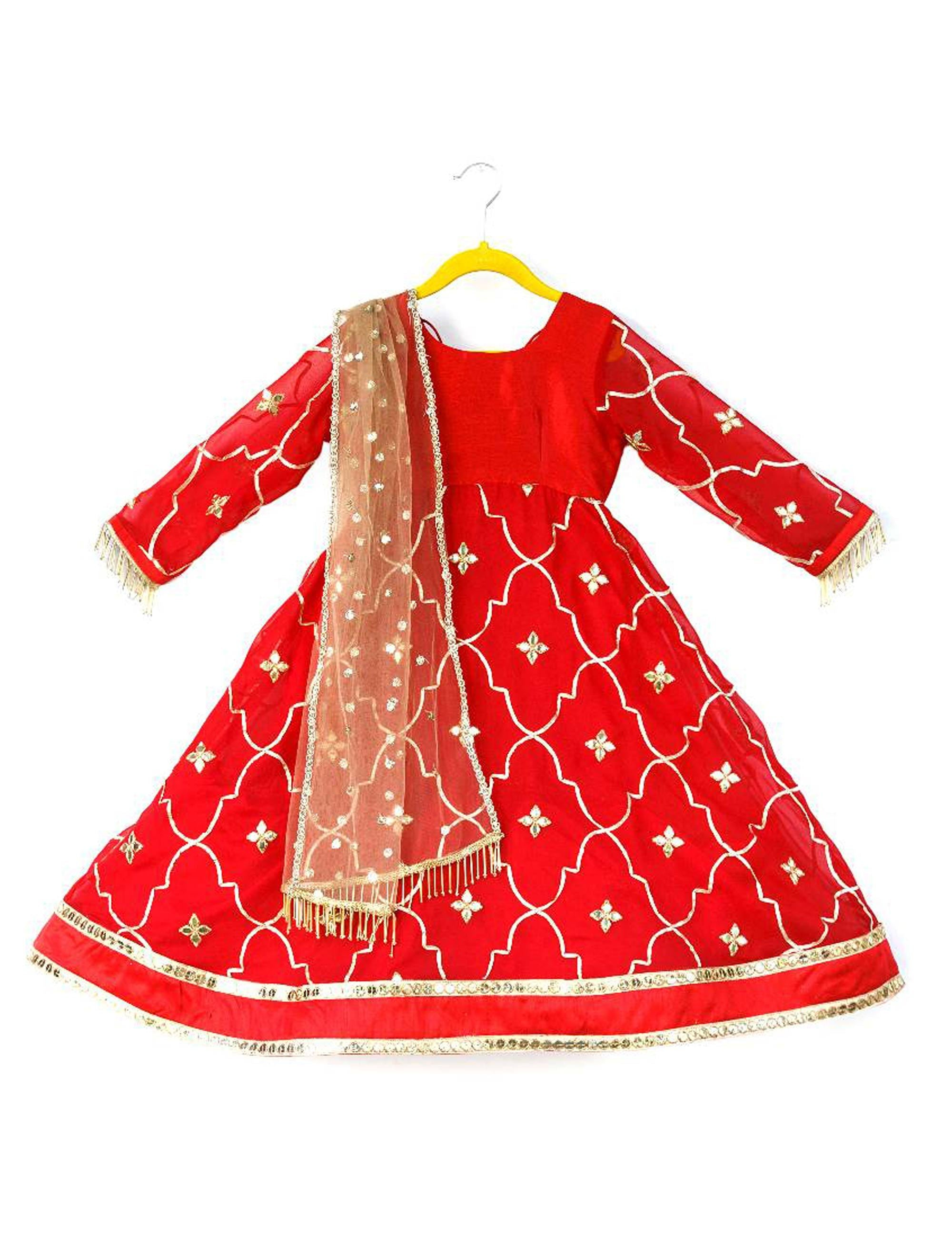 Red Gota Jaal Gown for Girls