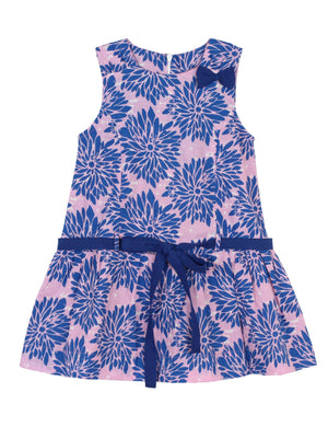 Blue & Pink Cotton Drop Waist Dress for Girls