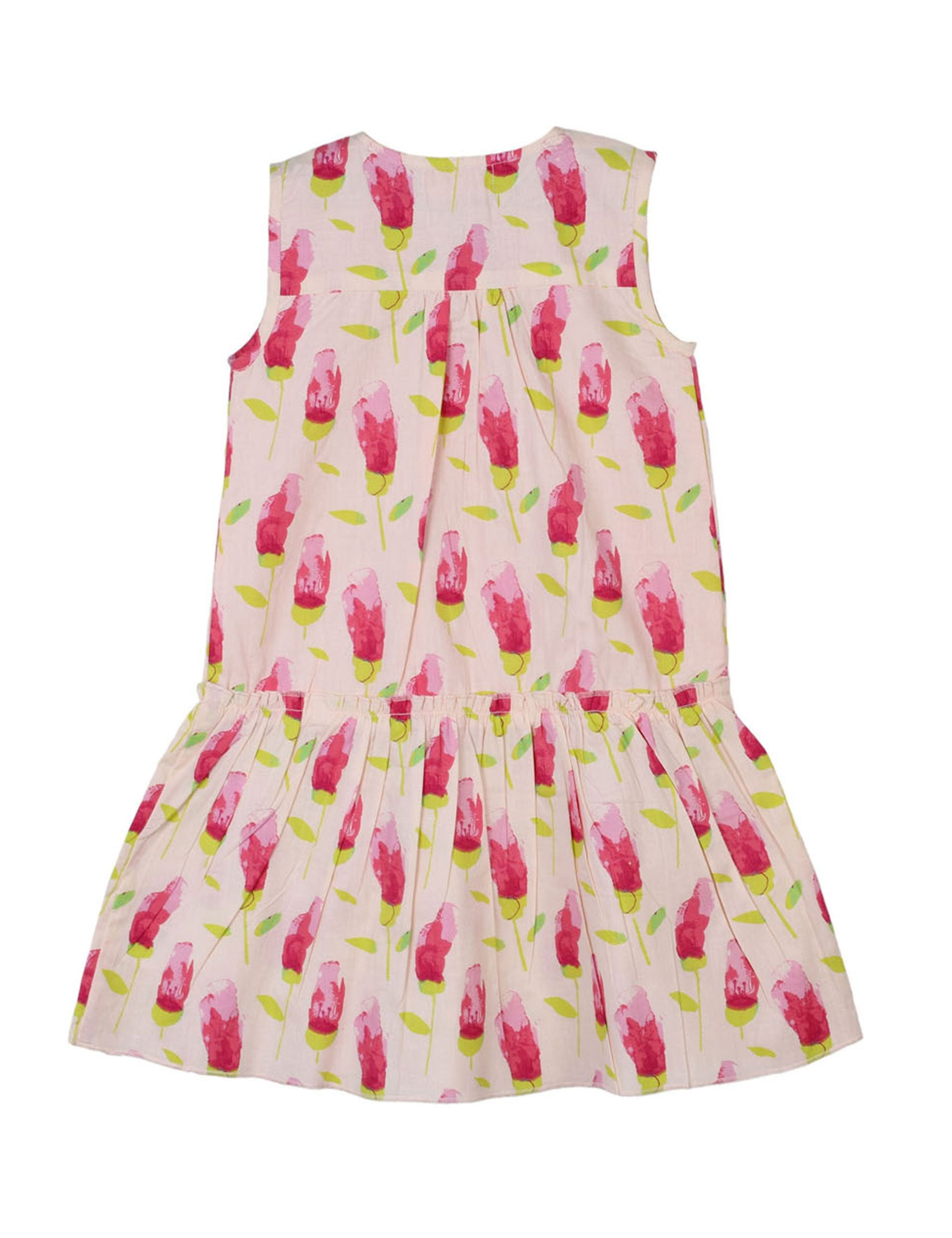 Printed Drop Waist Dress in Pink Colour for Girls