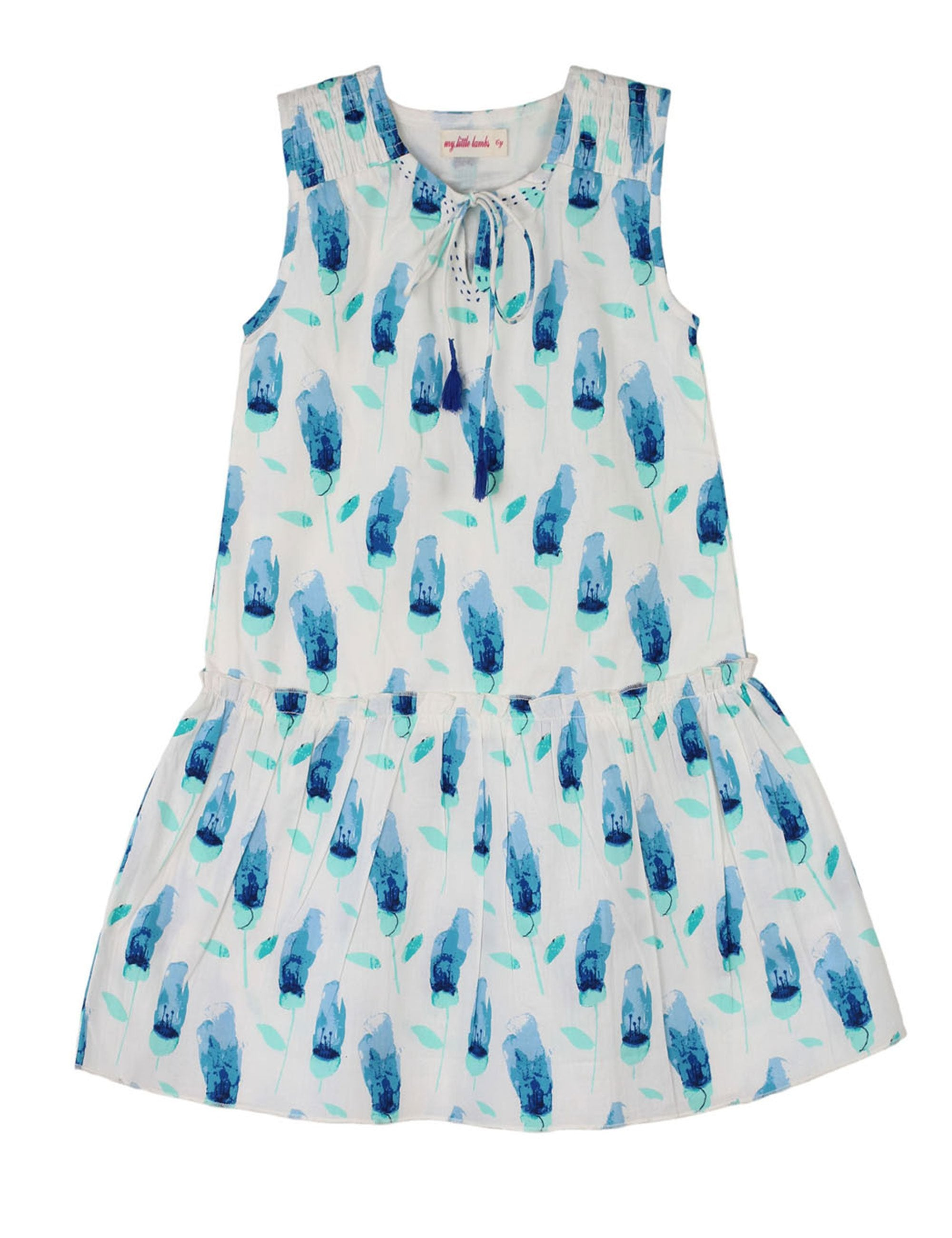 Printed Drop Waist Dress in White & Blue Colour for Girls