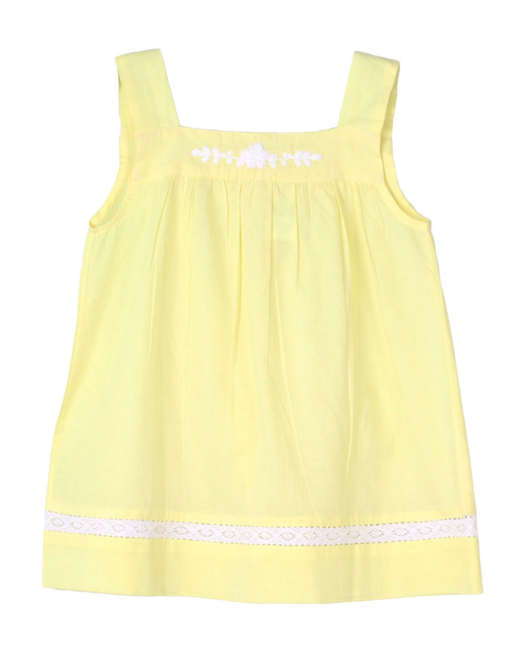 Embroidered Solid Top with Lace in Yellow for Girls