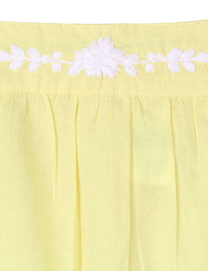 ebf52814f6f Embroidered Solid Top with Lace in Yellow for Girls