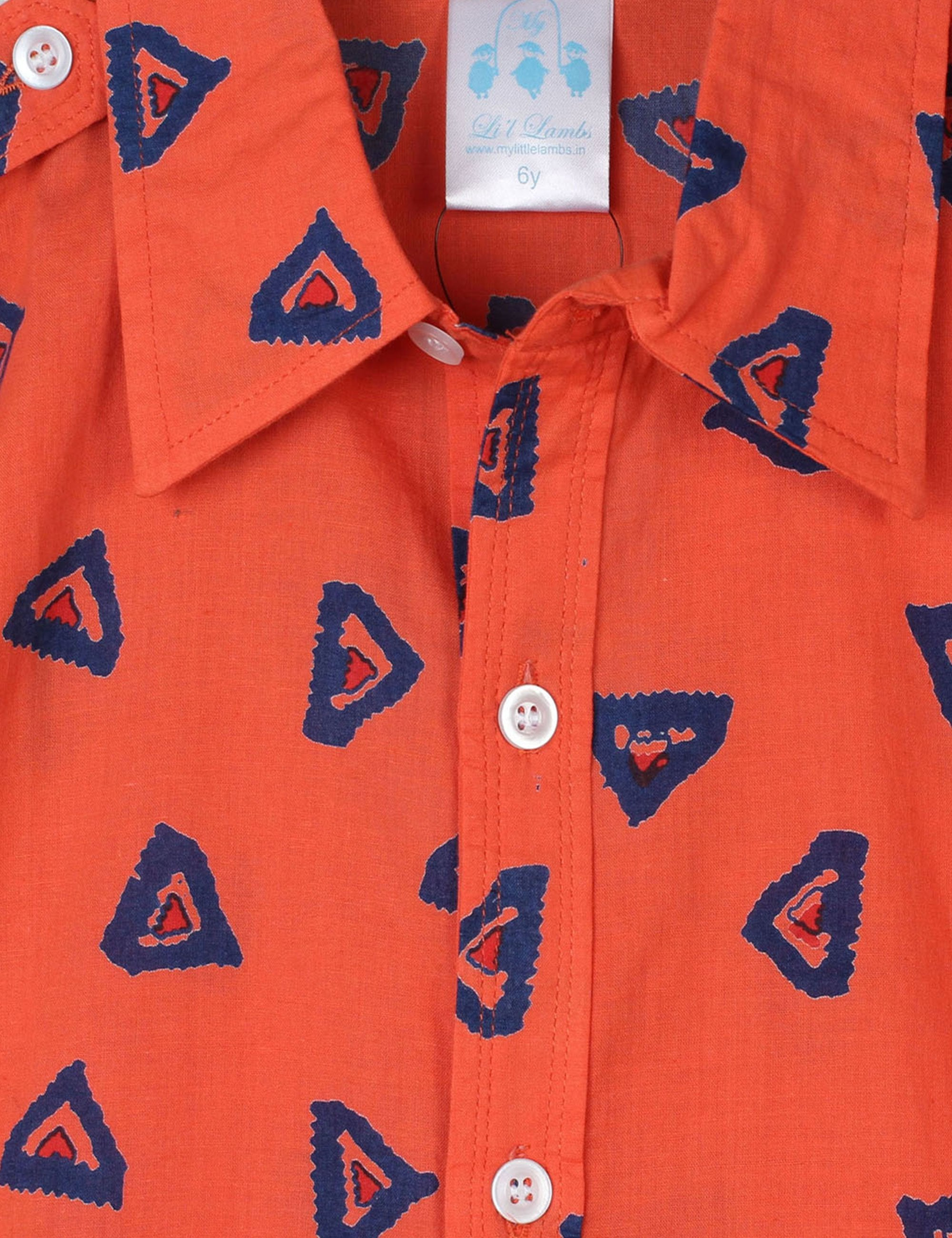 Printed Cotton Shirt in Orange for Boys