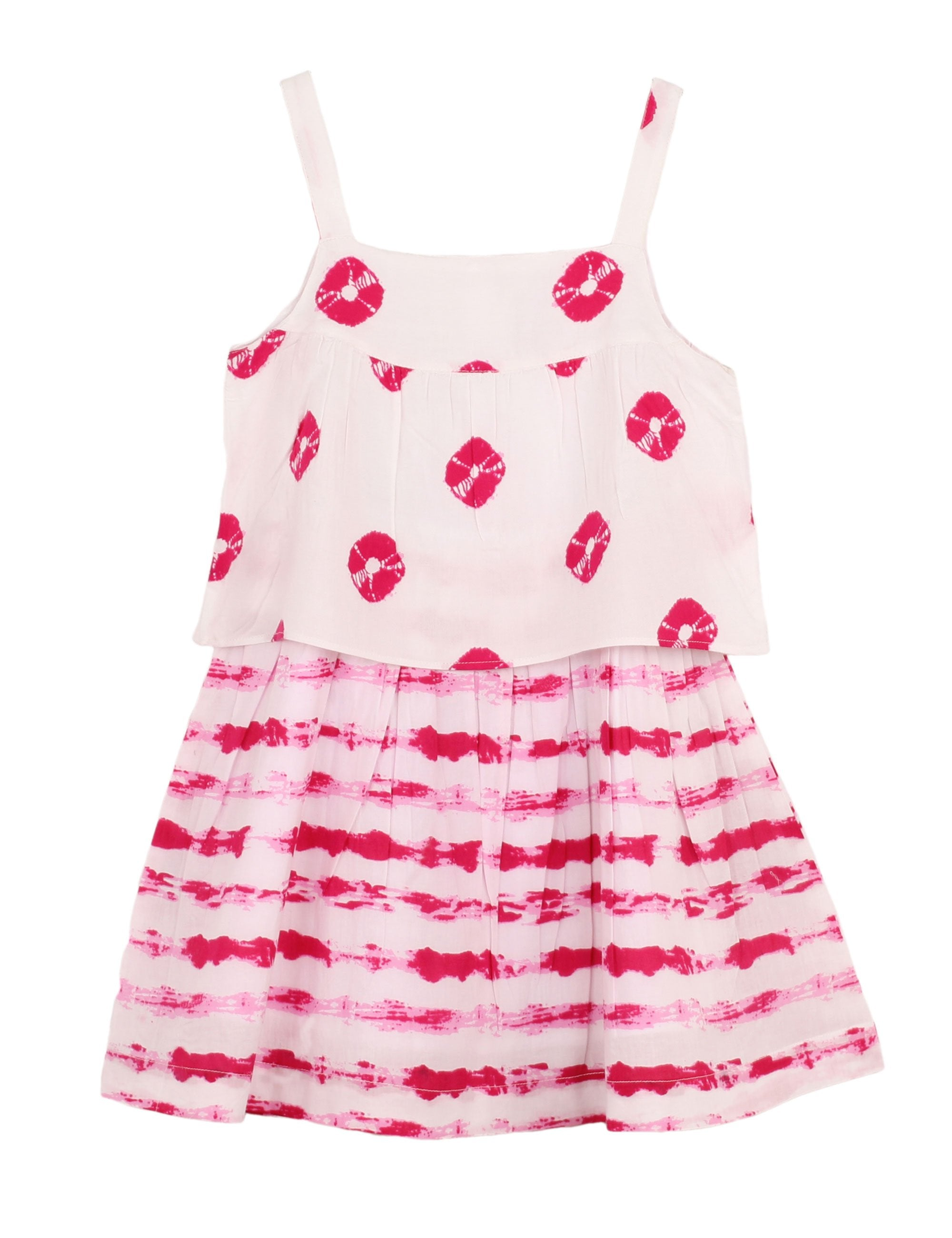 Layered Printed Tie Dye Dress in Pink and Red Colour for Girls