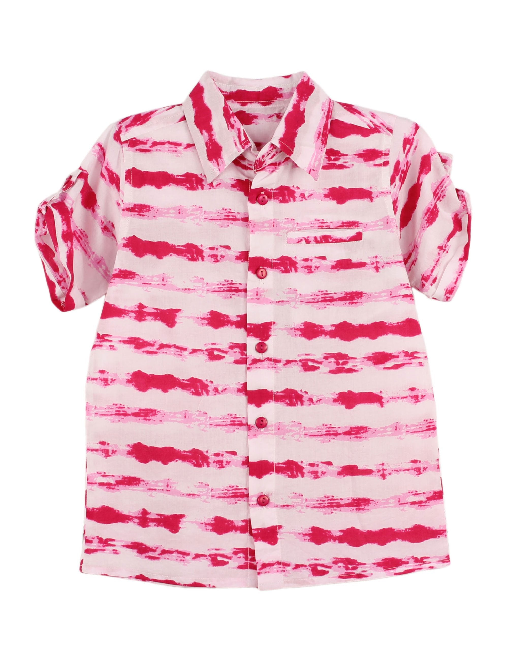 Tie Dye Cotton Shirt in Pink and White for Boys
