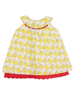 Baby Chick Printed Cotton Dress in Red Colour for Girls