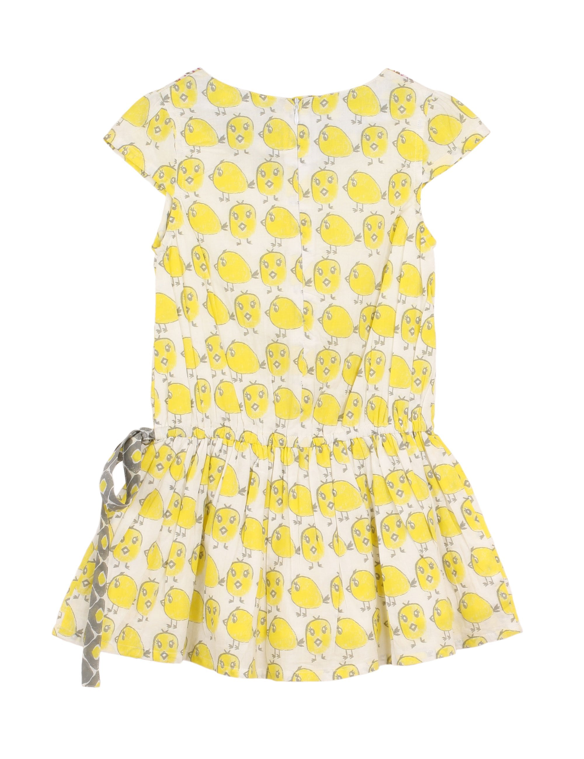 Chick Print Tunic Dress in Yellow for Girls