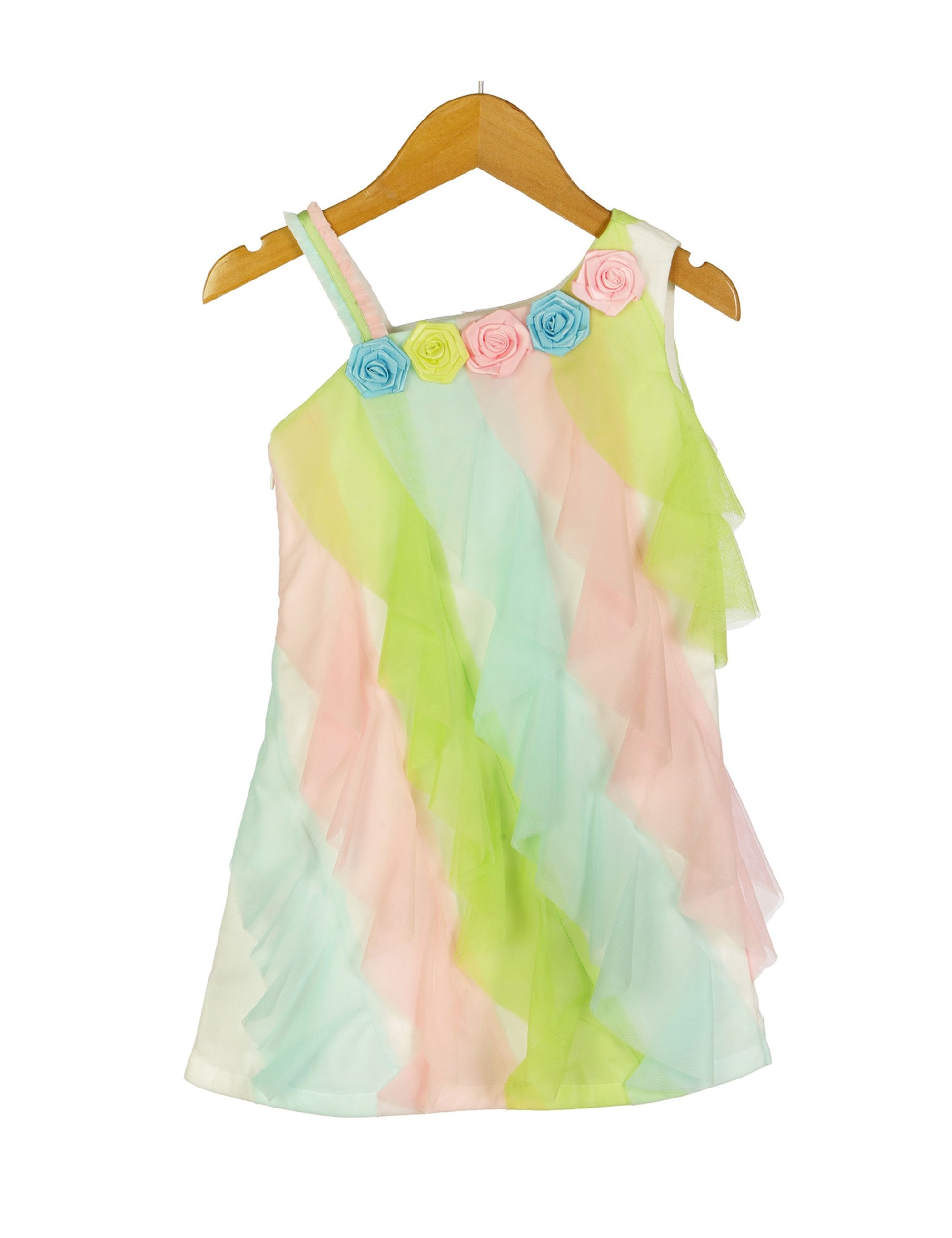 Multicolour Ruffle Pattern One Shoulder Dress