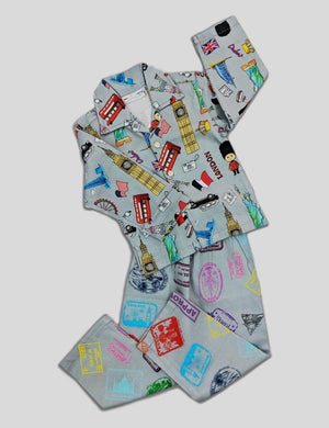 Summer Holidays Destination Prints Multi-Colour Cotton Nightwear for Girls and Boys (Full Sleeves)
