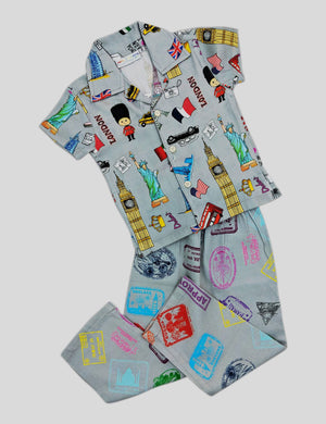 Summer Holidays Destination Prints Multi-Colour Cotton Nightwear for Girls and Boys (Half Sleeves)