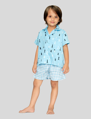 Chess Shirt & Shorts Cotton Set in Light Blue for Boys