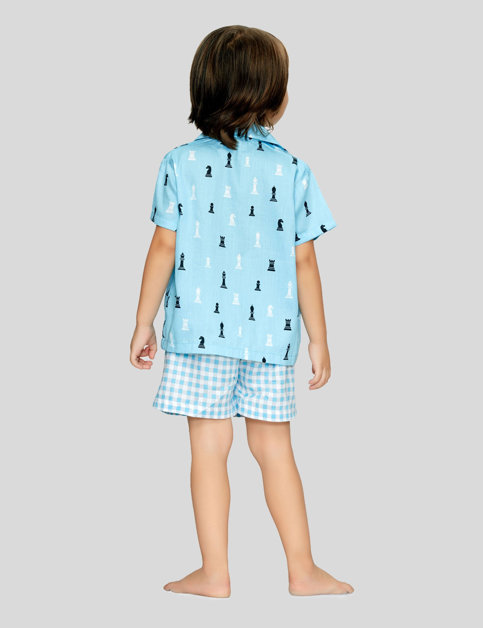 Chess Shirt and Shorts Cotton Set in Light Blue for Boys