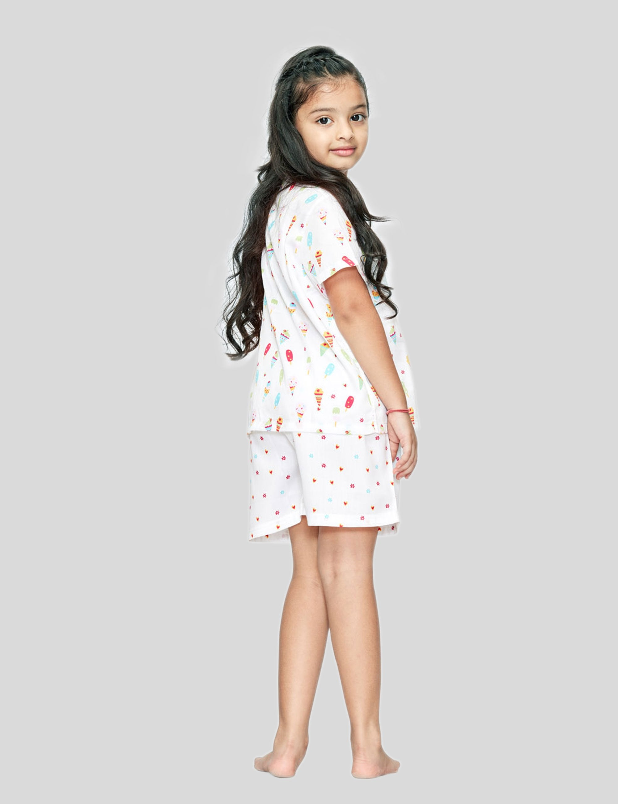 Ice-Cream Shirt and Shorts Cotton Set in White for Girls