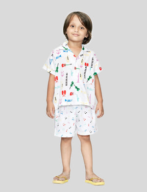 Music Shirt & Shorts Cotton Set in White for Boys & Girls