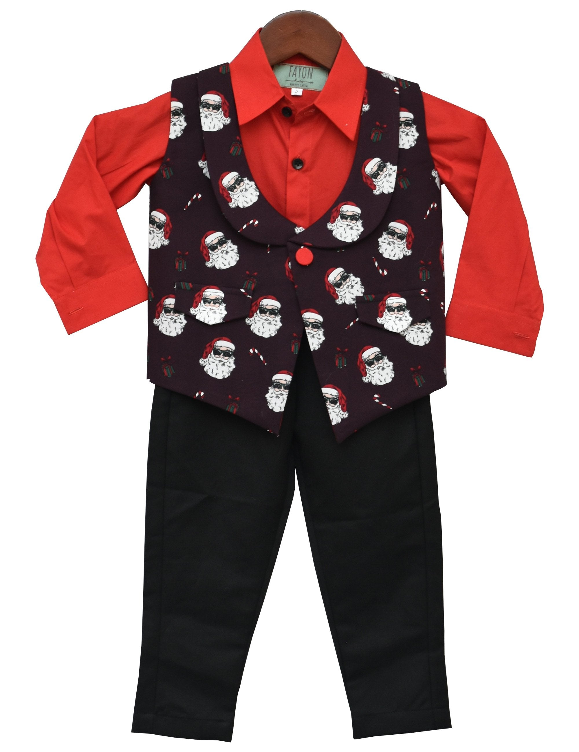 Santa Claus Print Waist Coat with Pant and Shirt for Boys