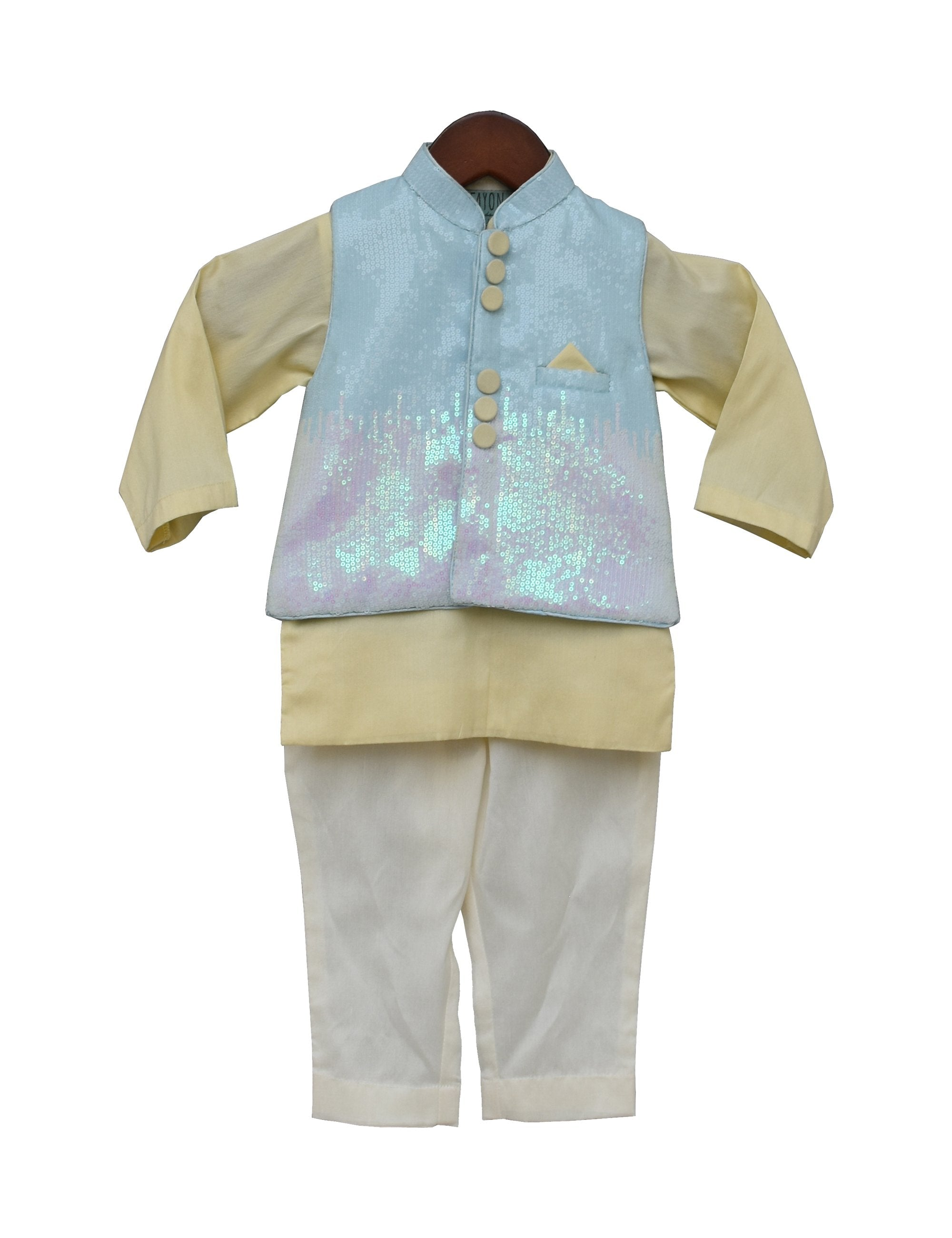 Sequence Nehru Jacket with Kurta & Pant