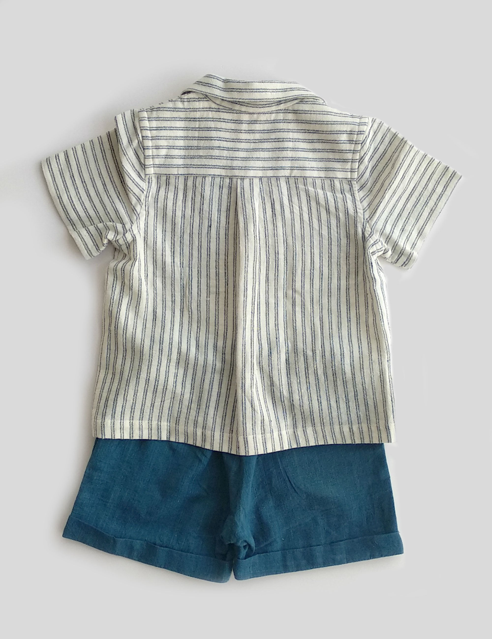 Convertible Collar Shirt Set with Half Sleeves in Stripped Pattern with Indigo Checks Shorts for Boys