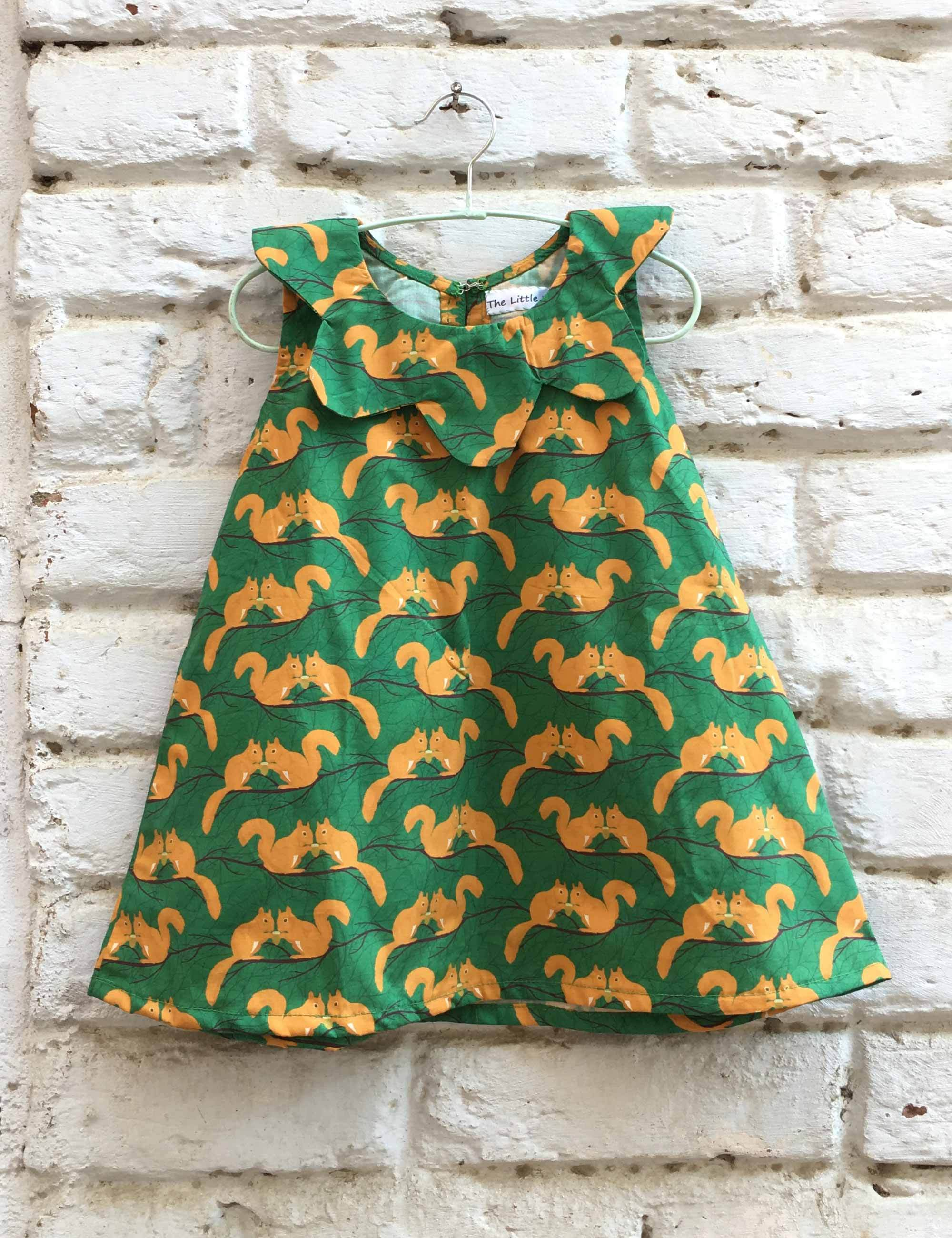 Squirrel Print Frock For Girls