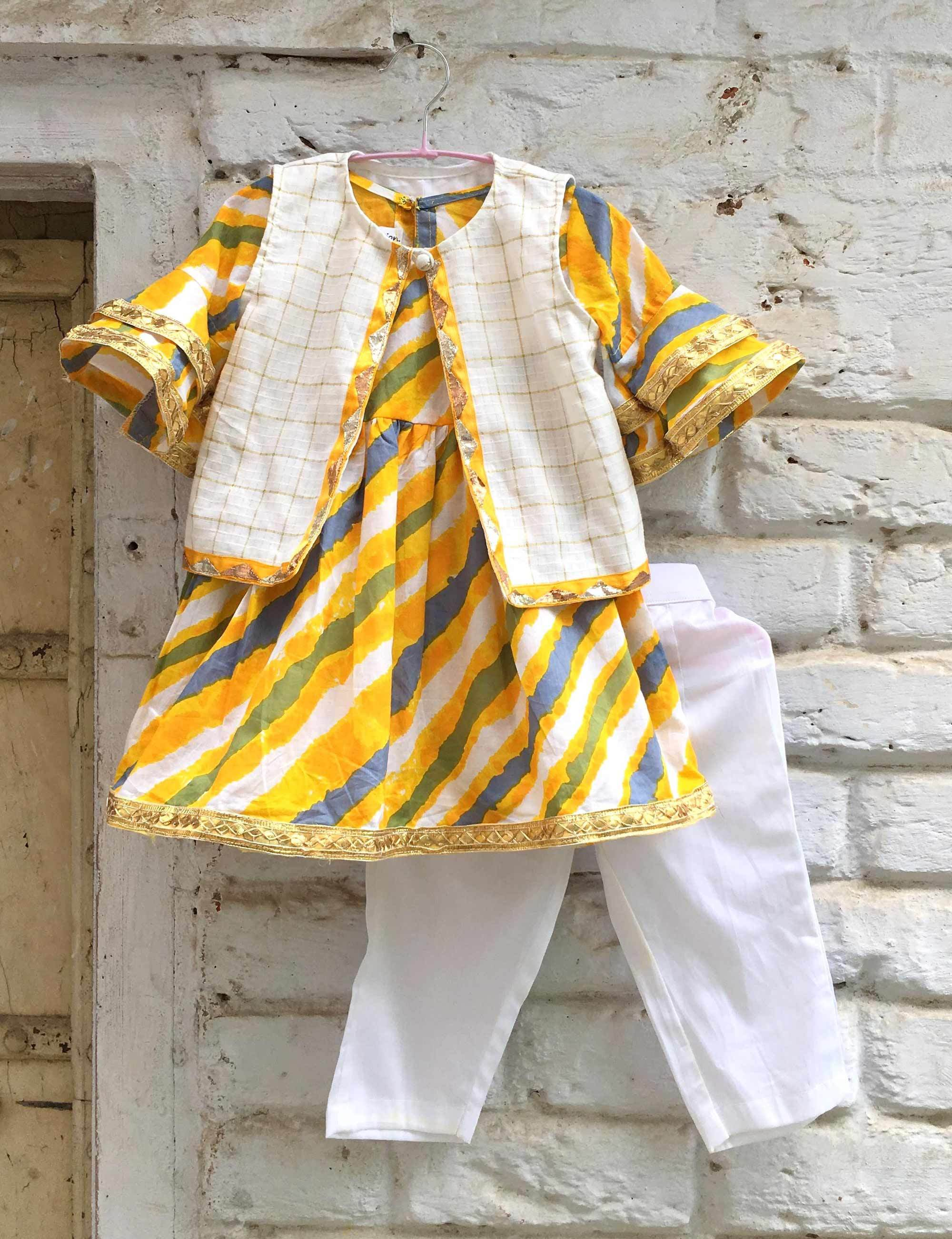 Yellow Lehariya Kurta With Jacket and Pants