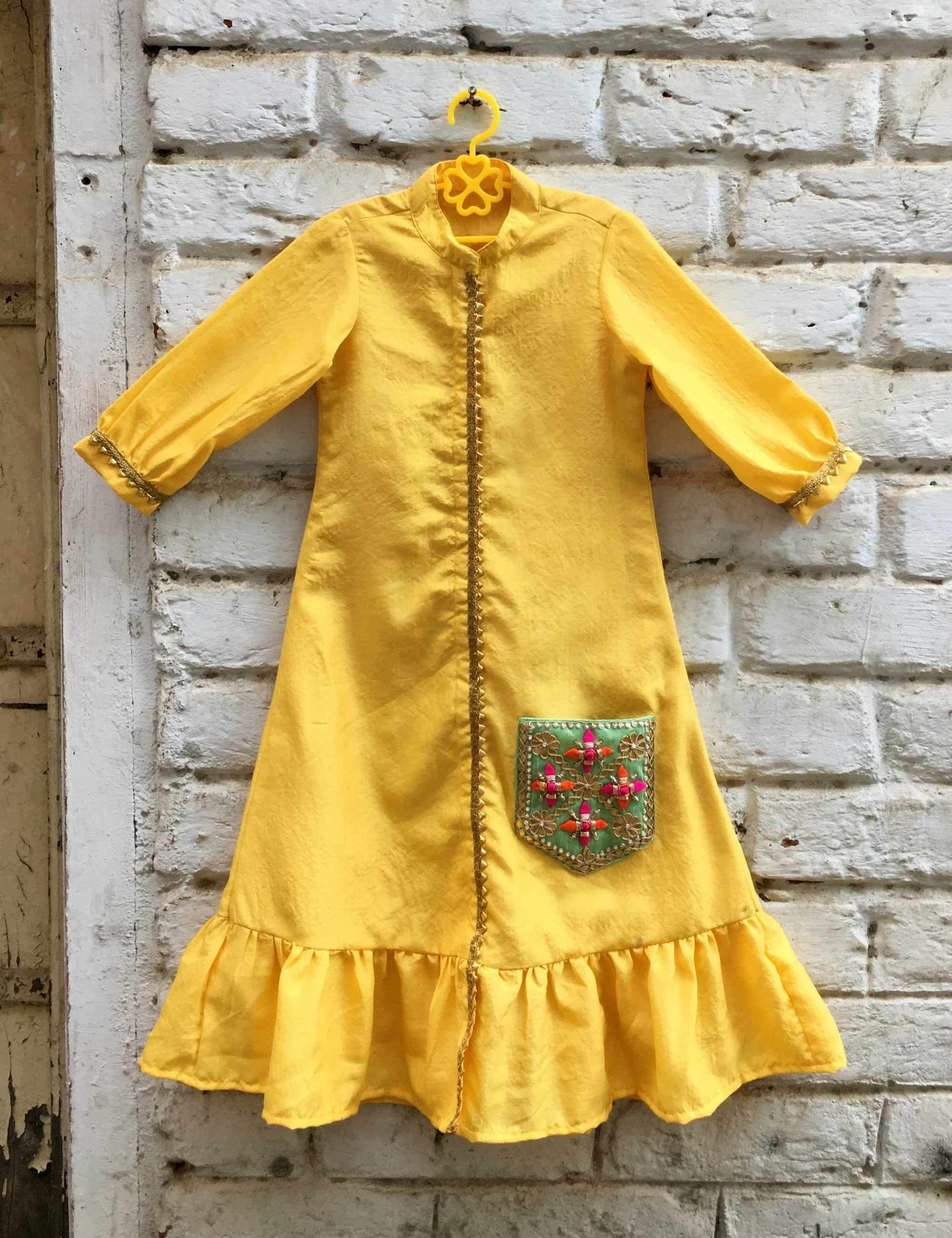 Yellow Dress with Frills and Pocket