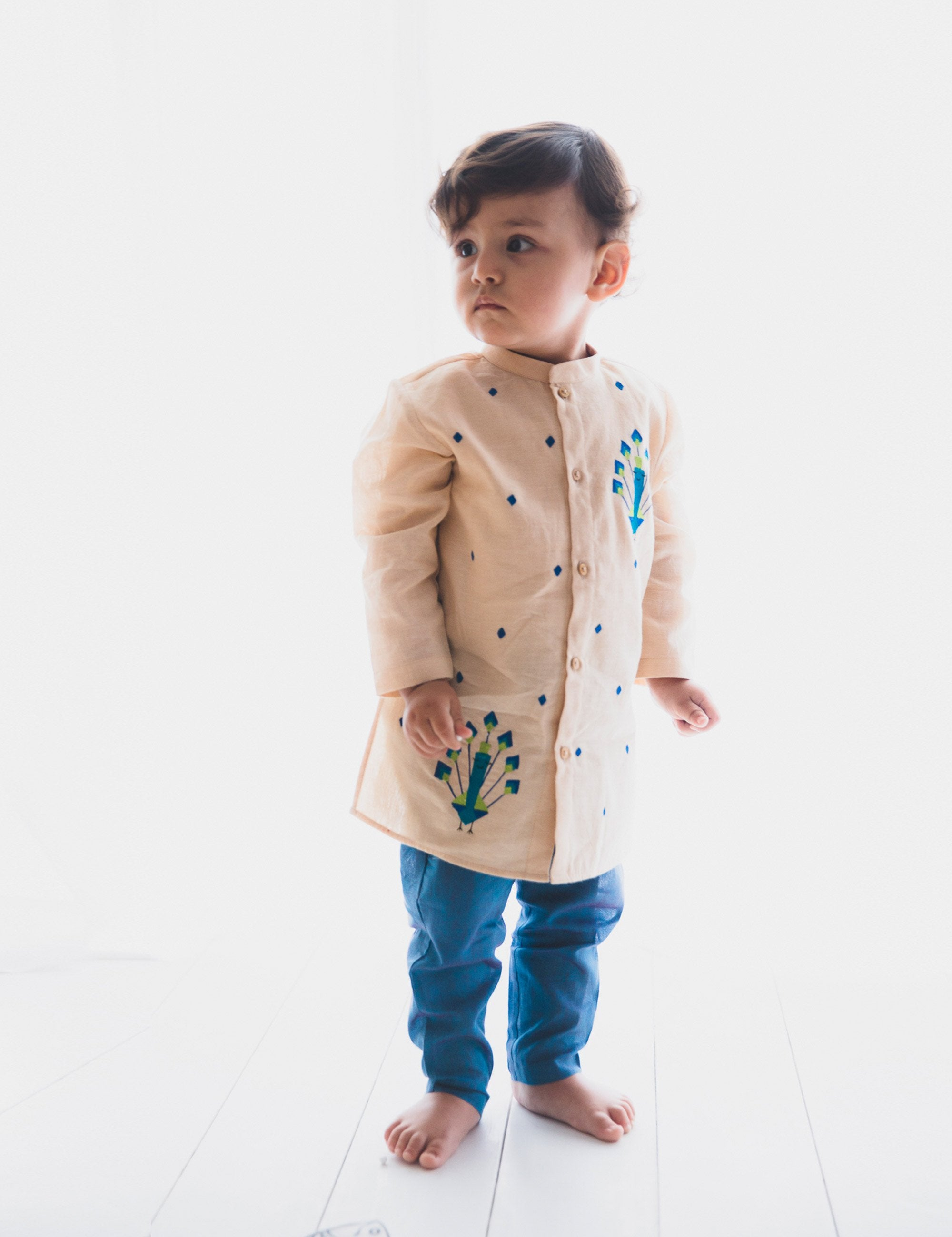 Baby Boy Beige Peacock Kurta Set