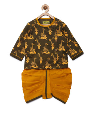 Baby boy Olive jungle tales Dhoti Set