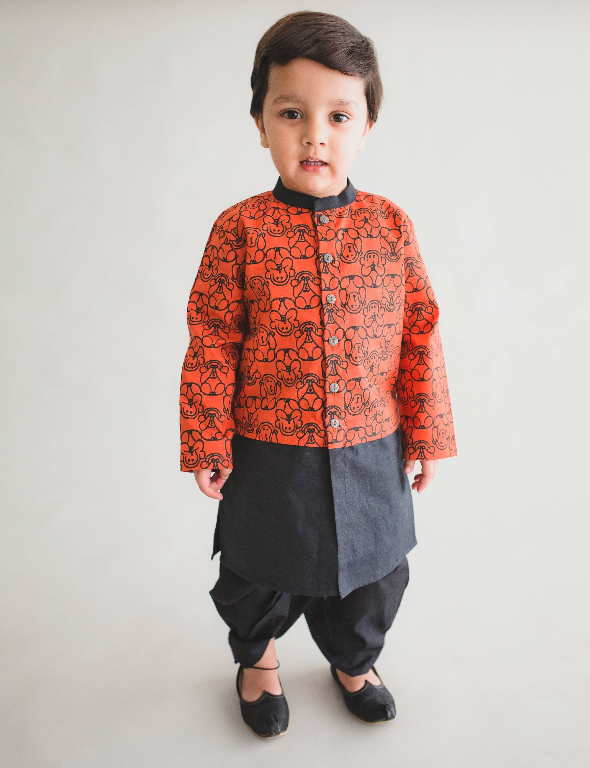 Boy Orange Monkey Print Dhoti Kurta Set