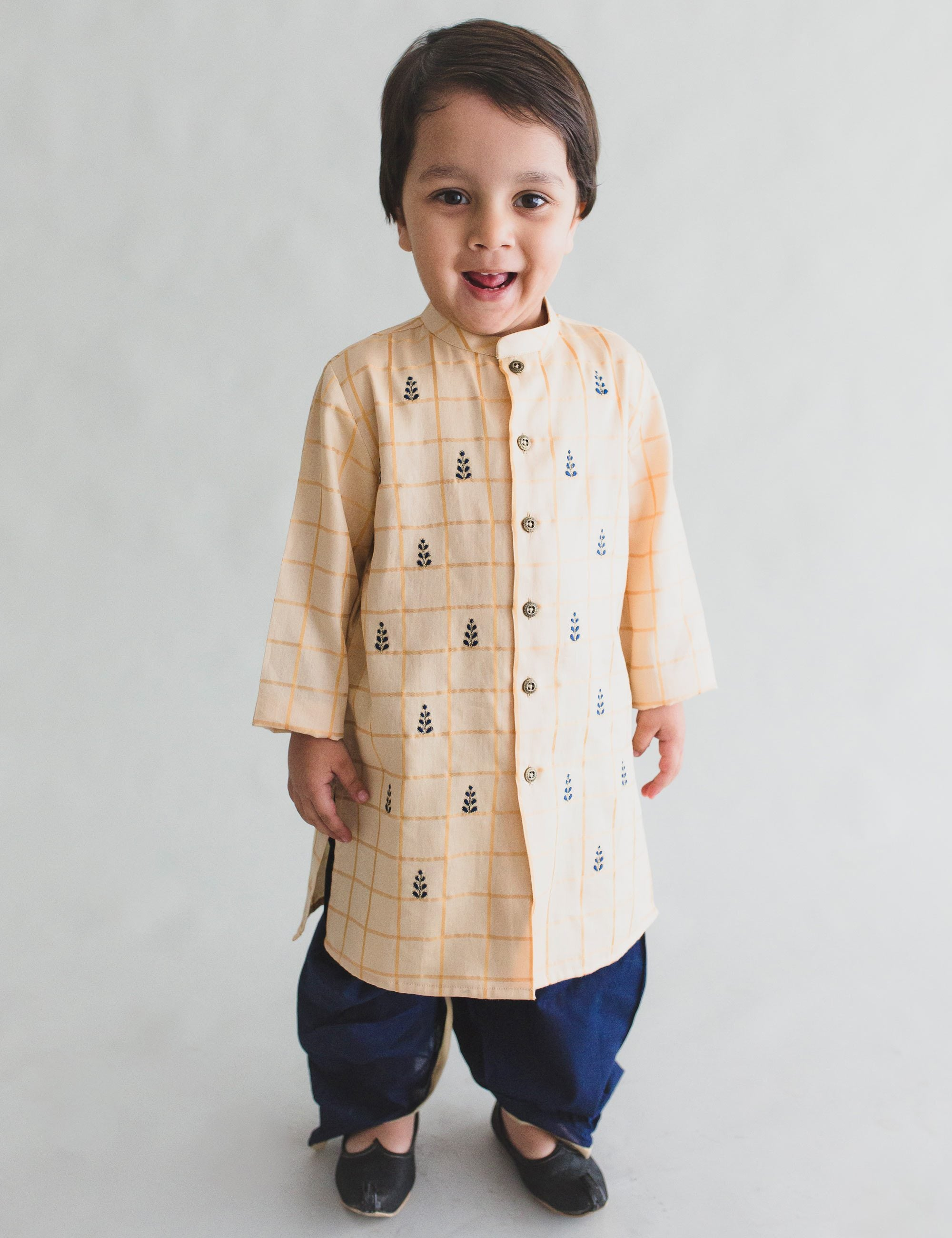 Boy Cream- Blue Pine Buta Dhoti Kurta Set