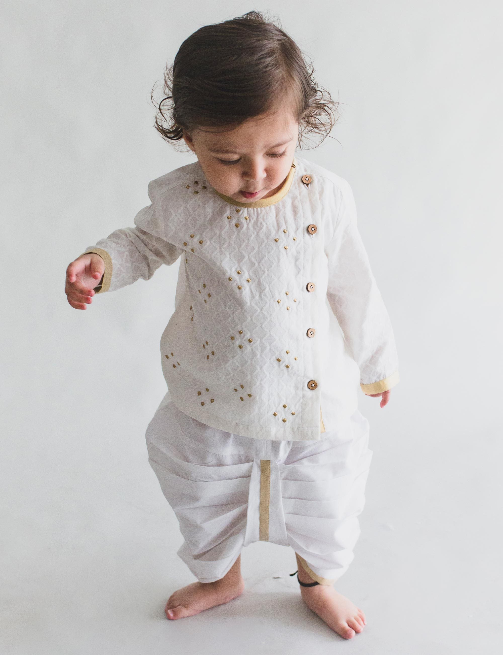 Infant White Angrakha Kurta Dhoti Set