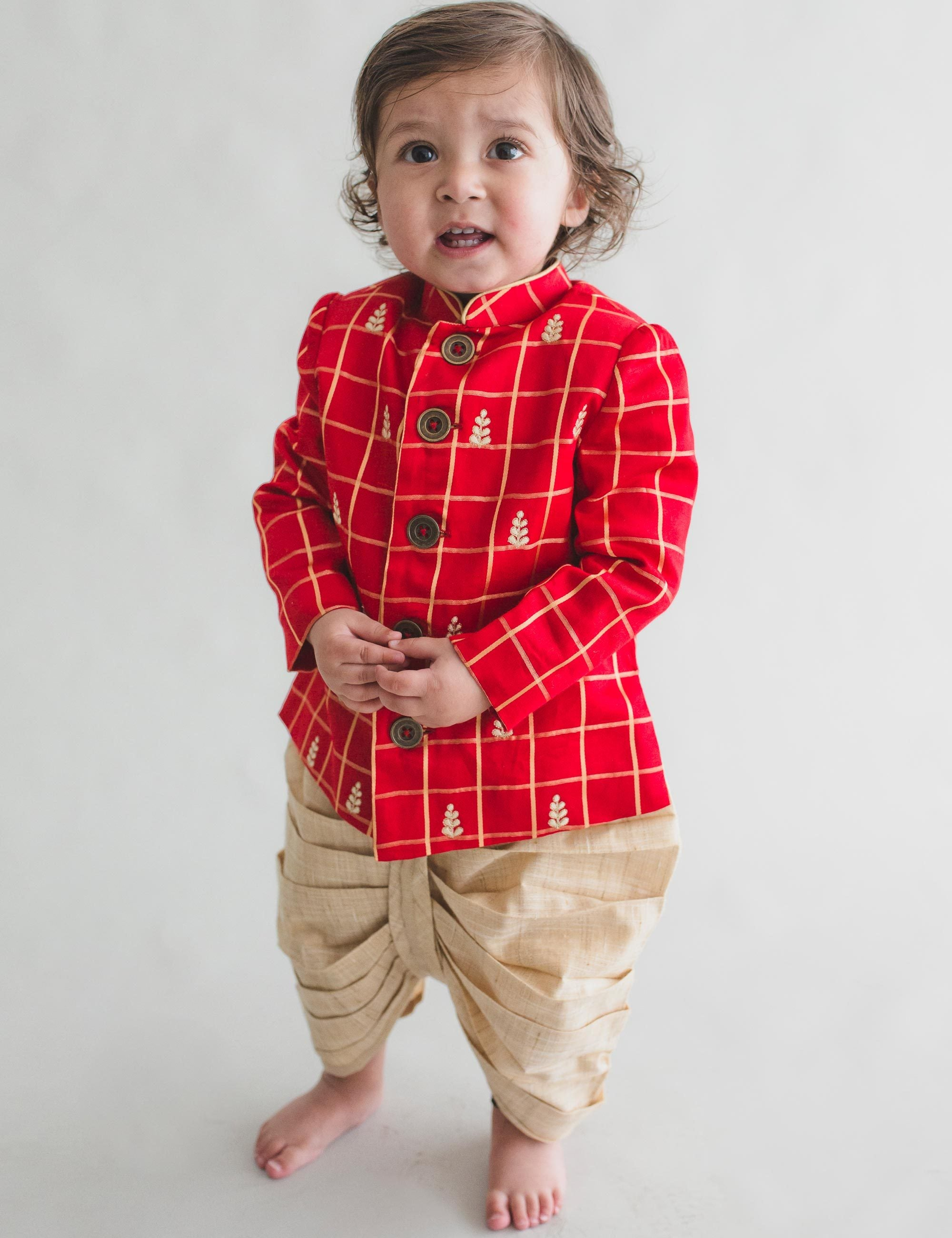 Infant Red Check Embroidered Bandgala Dhoti Set