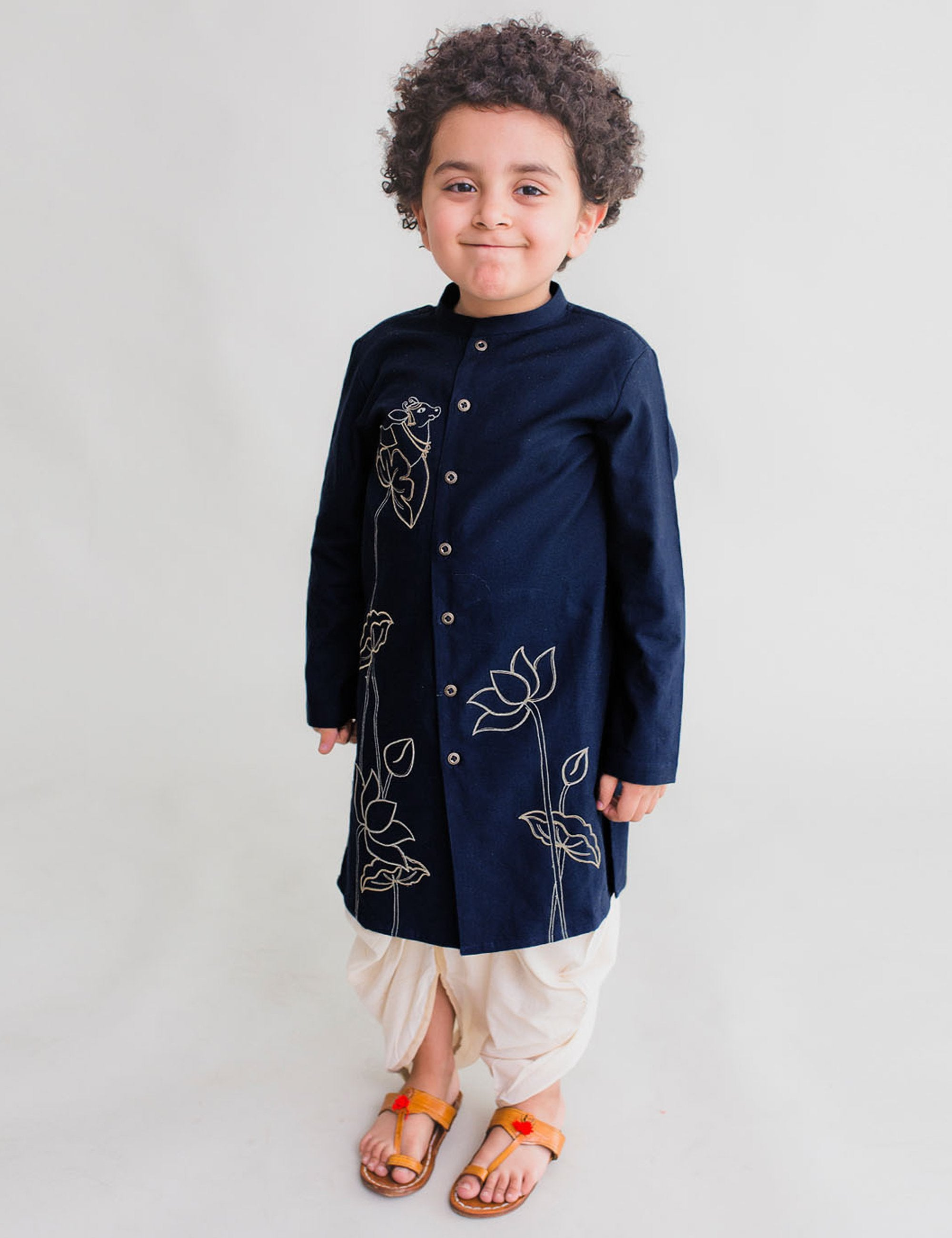 Boy Blue Kurta Dhoti Set Krishna Cow Bel