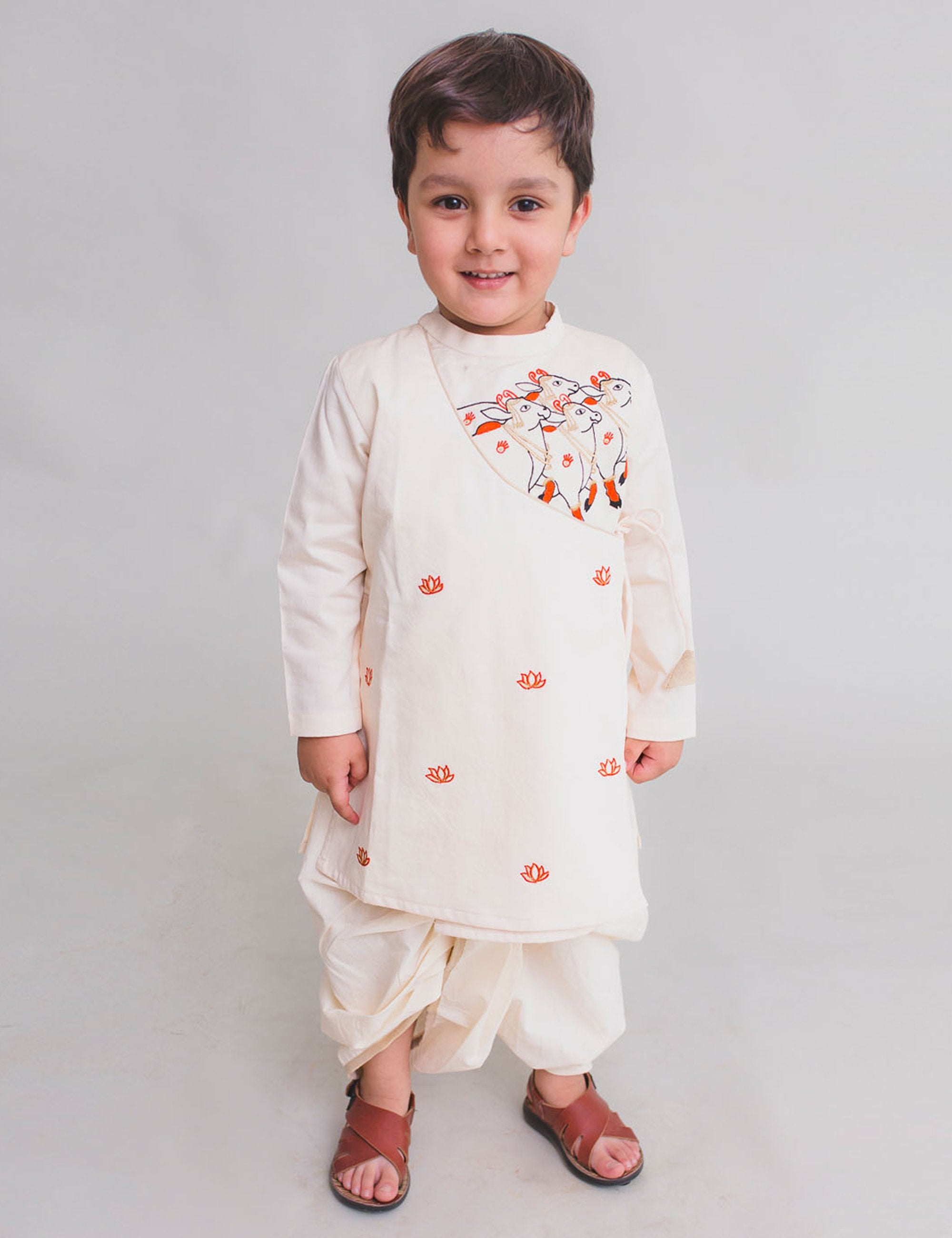 Boy White Kurta Dhoti Set Krishna cow herd