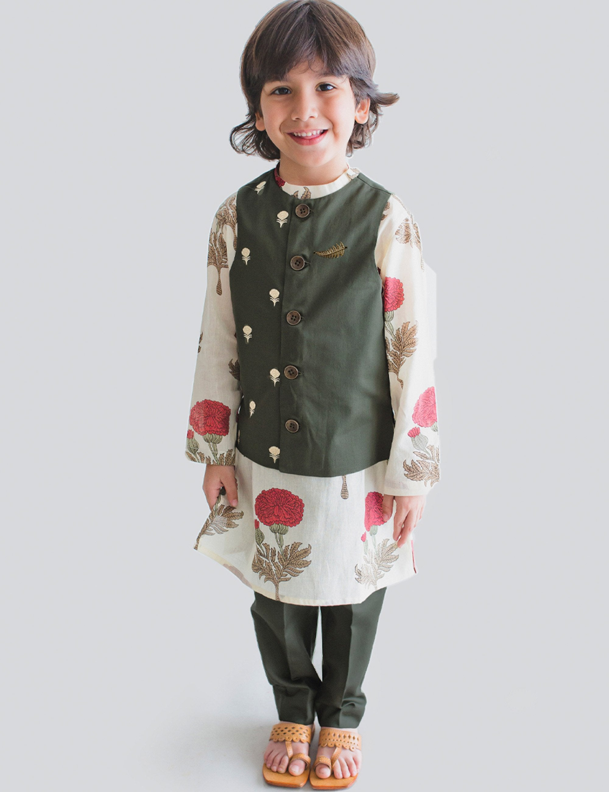 Cotton Boy Bundi Kurta Set Off-white Floral 3 Pc