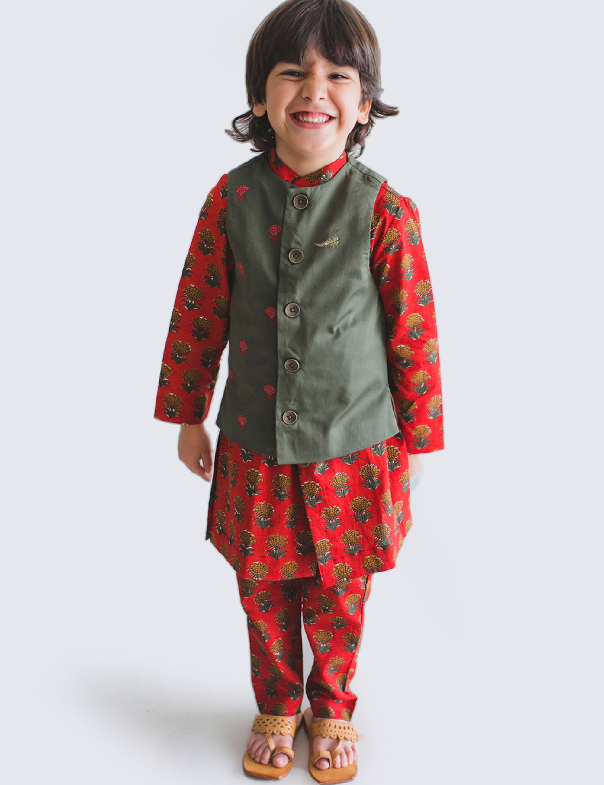 Cotton Boy Bundi Kurta Set Maroon Floral 3 Pc