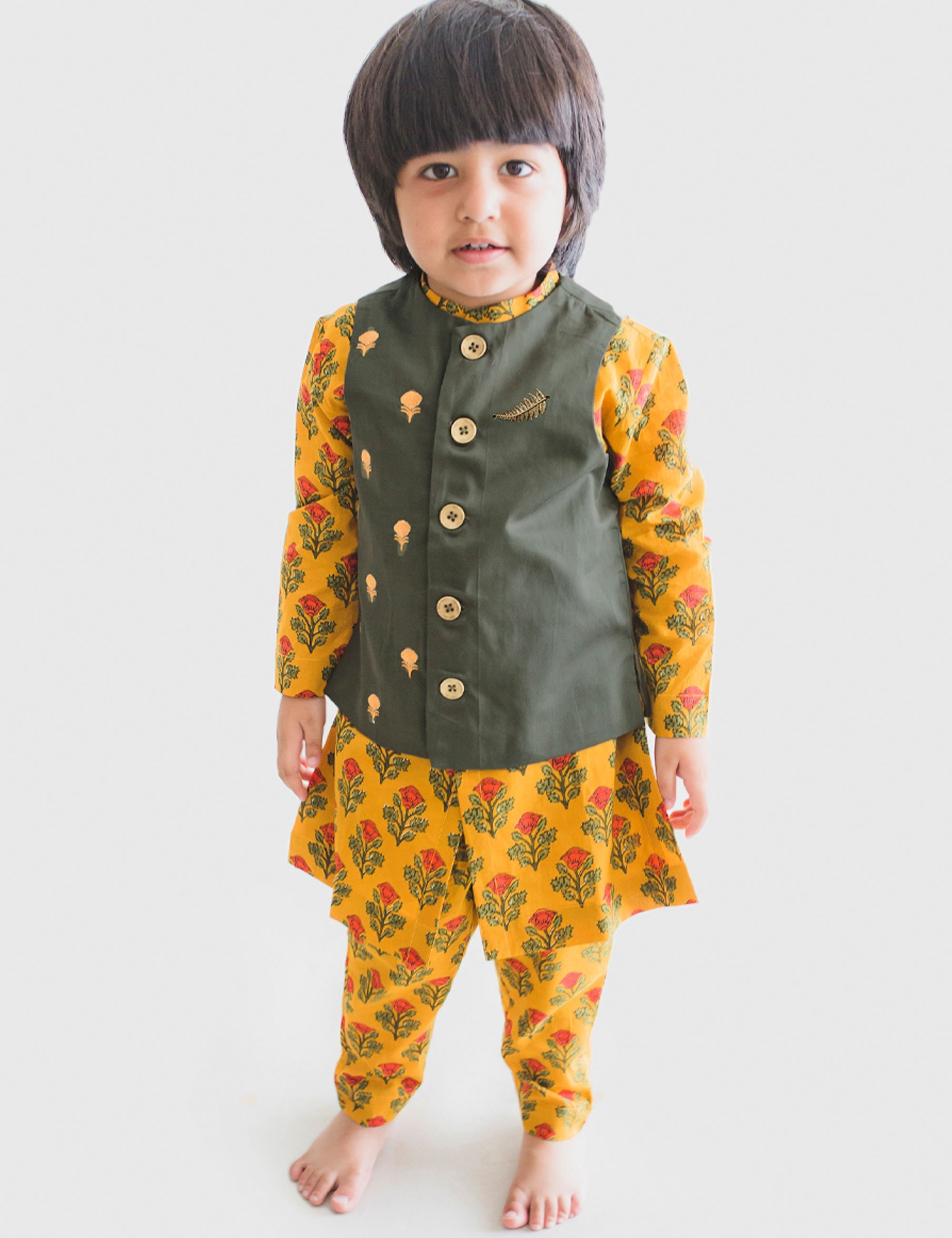 Cotton Boy Bundi Kurta Set Mustard Floral 3 Pc