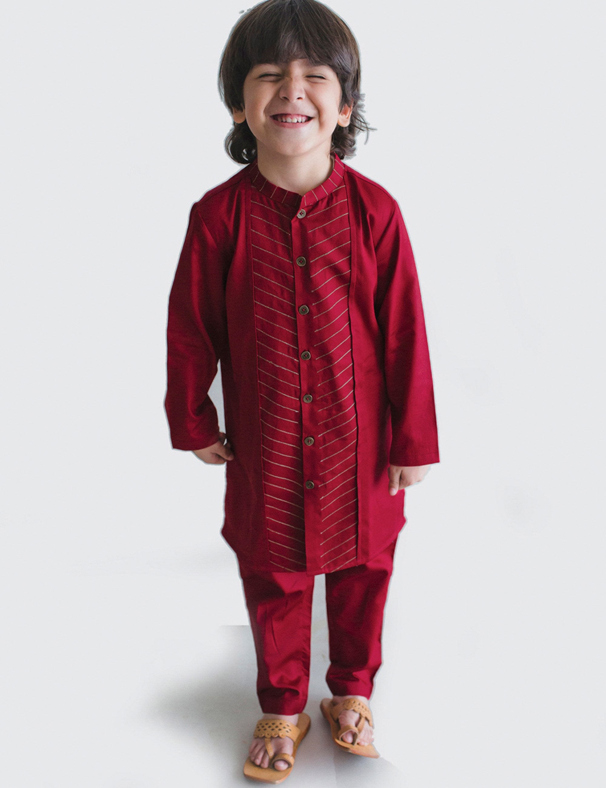 Cotton Boy Bundi Kurta Set Maroon Jacquard 3 Pc