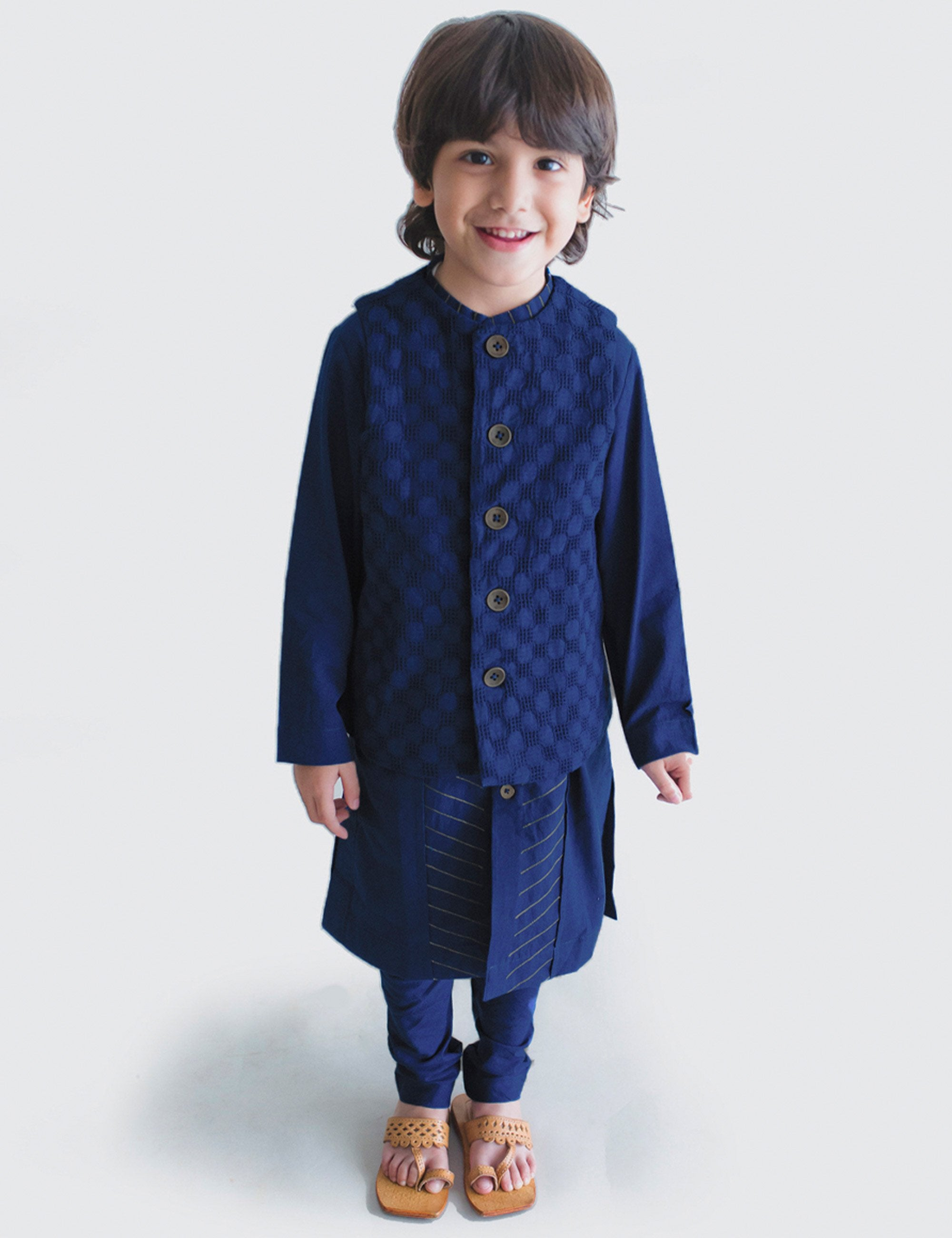 Cotton Boy Bundi Kurta Set  Blue Jacquard 3 Pc