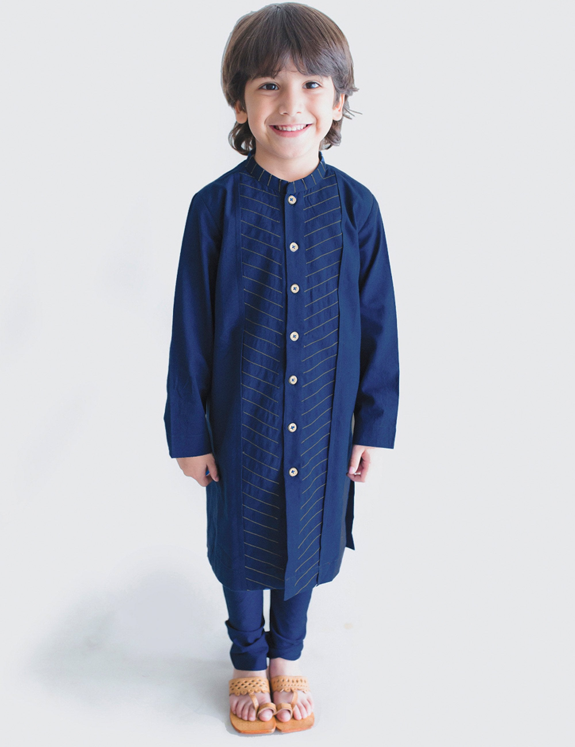 Cotton Blue Diagnol Kurta Set