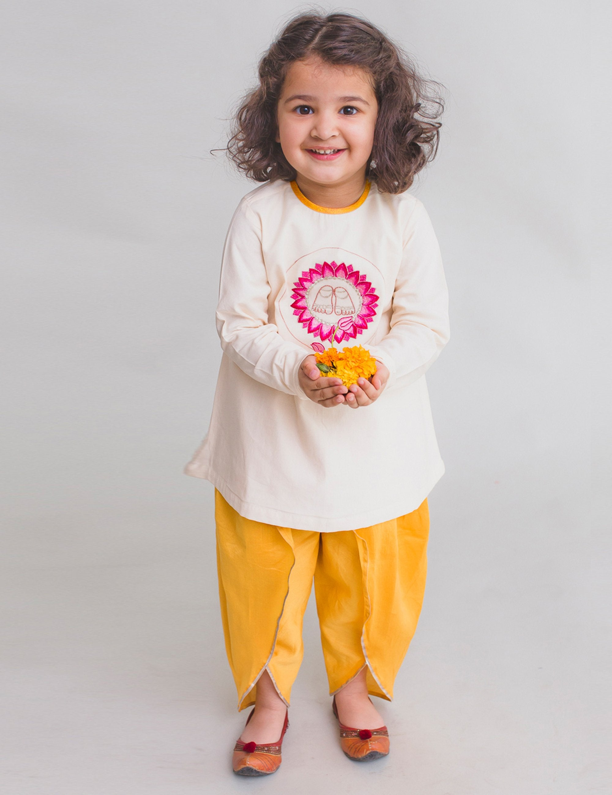 Girl White Dhoti Set Krishna Lotus Feet