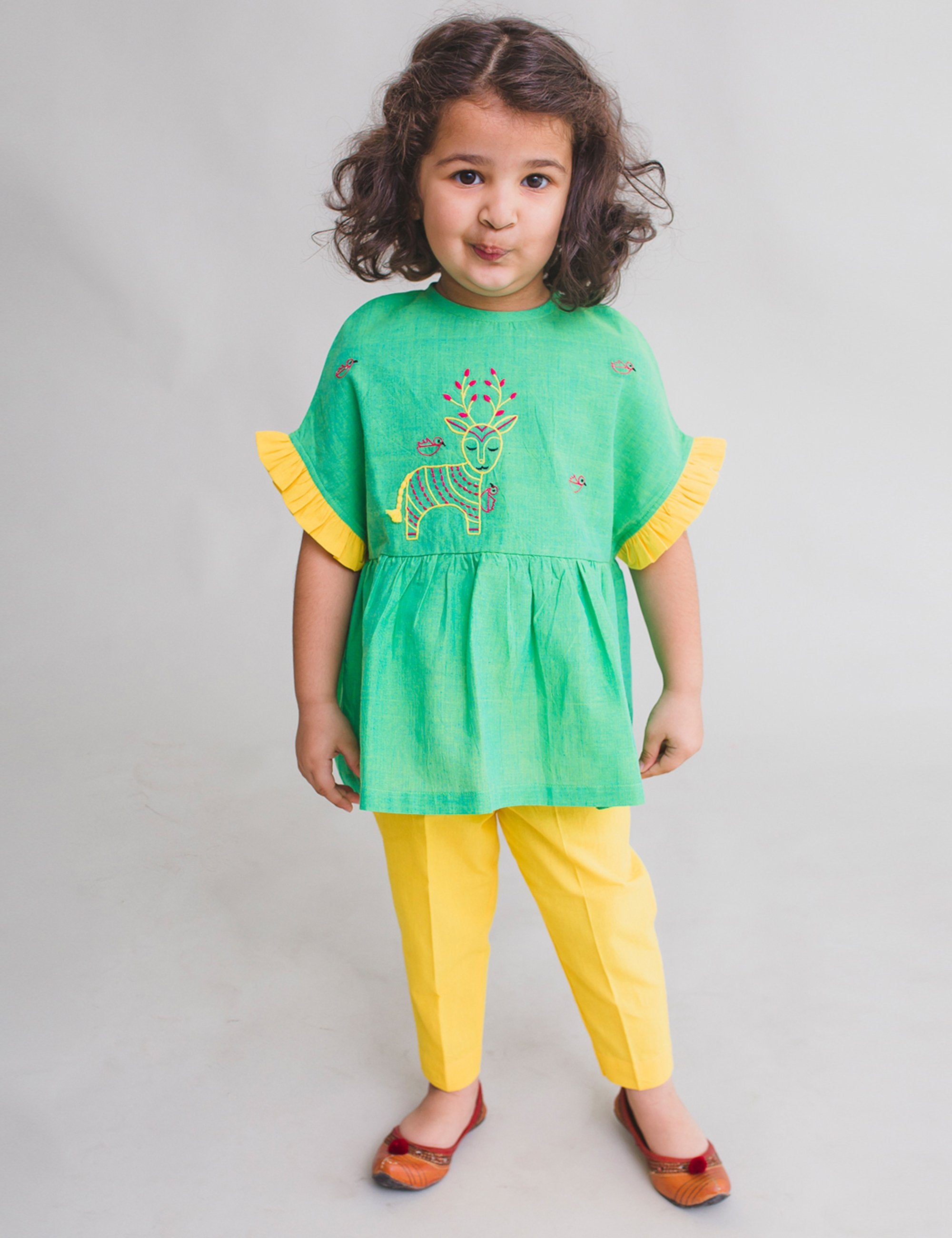 Girl Top Set Gond Green Deer